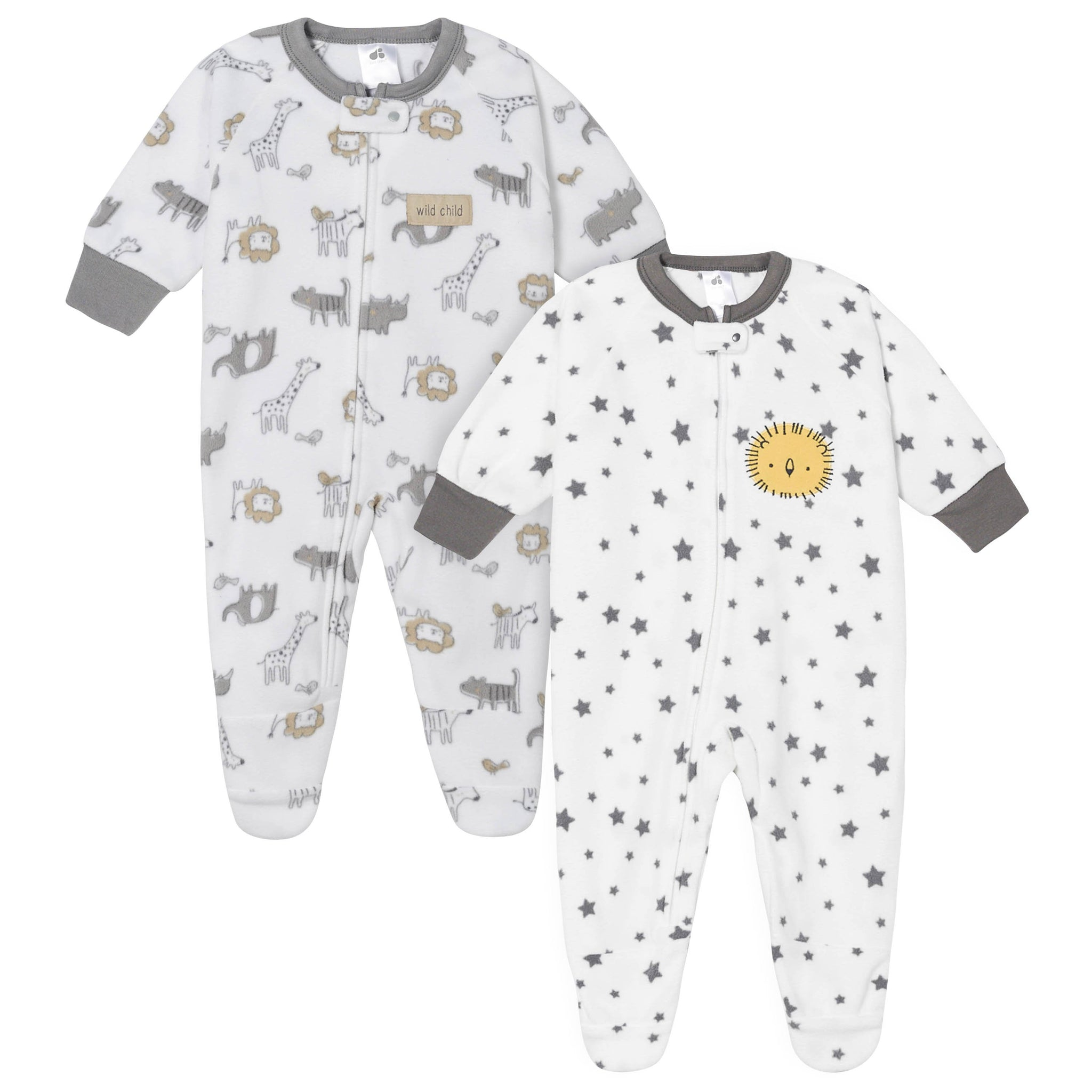Baby Boys' 2-Pack Animals and Stars Blanket Sleepers-Gerber Childrenswear