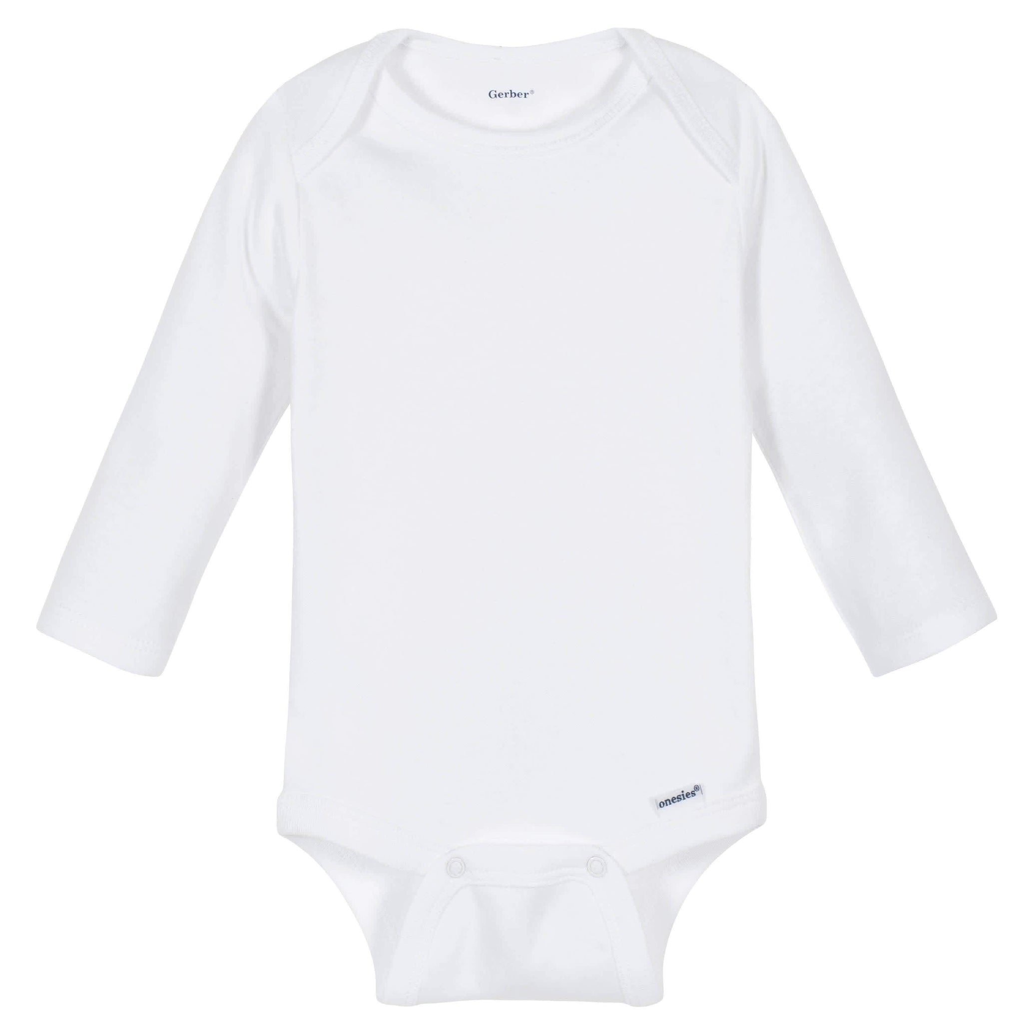 Gerber® Premium White Long Sleeve Onesies® Brand Bodysuit - 10 Colors Available