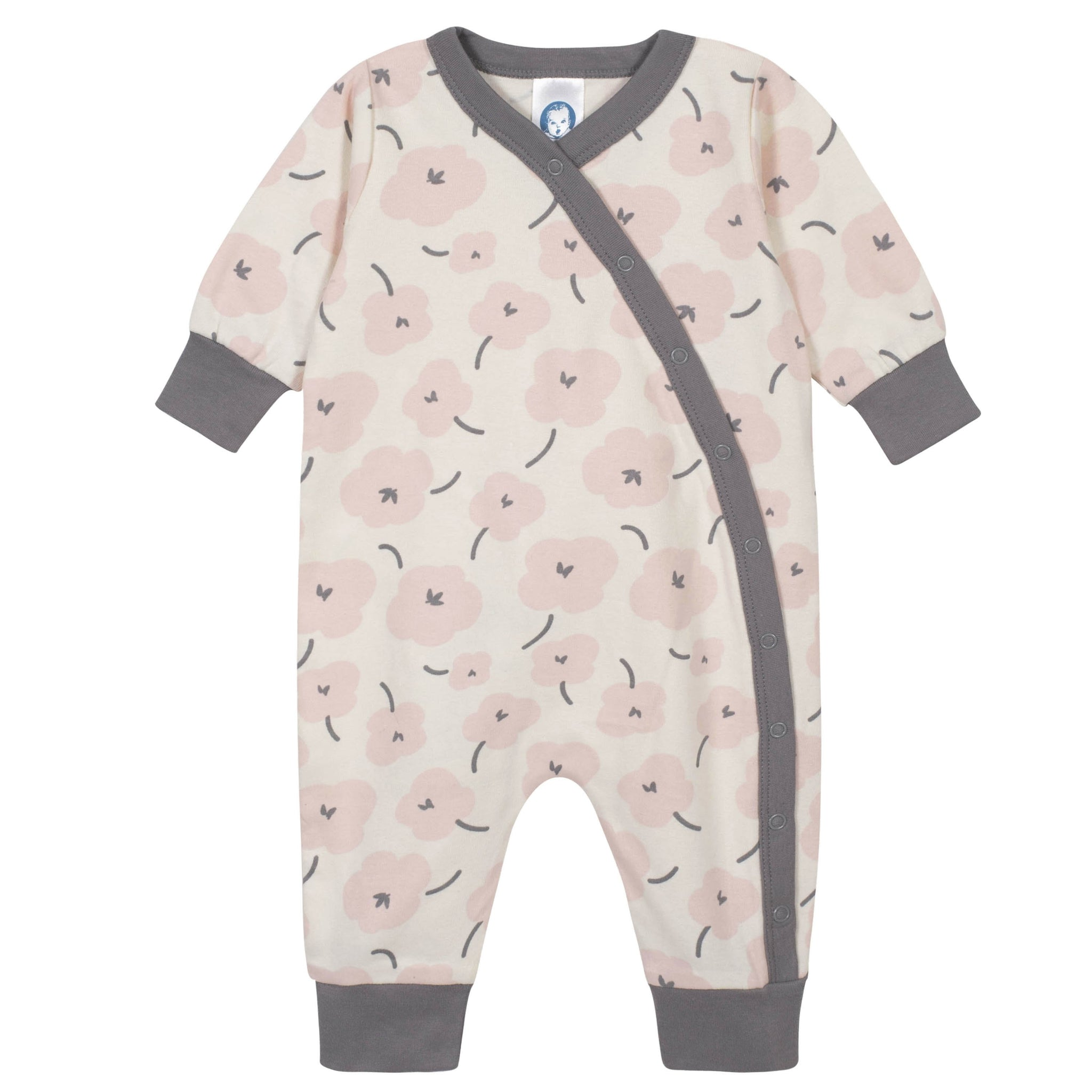 Gerber® 4-Piece Baby Girls Coverall and Cap Set - Bunny