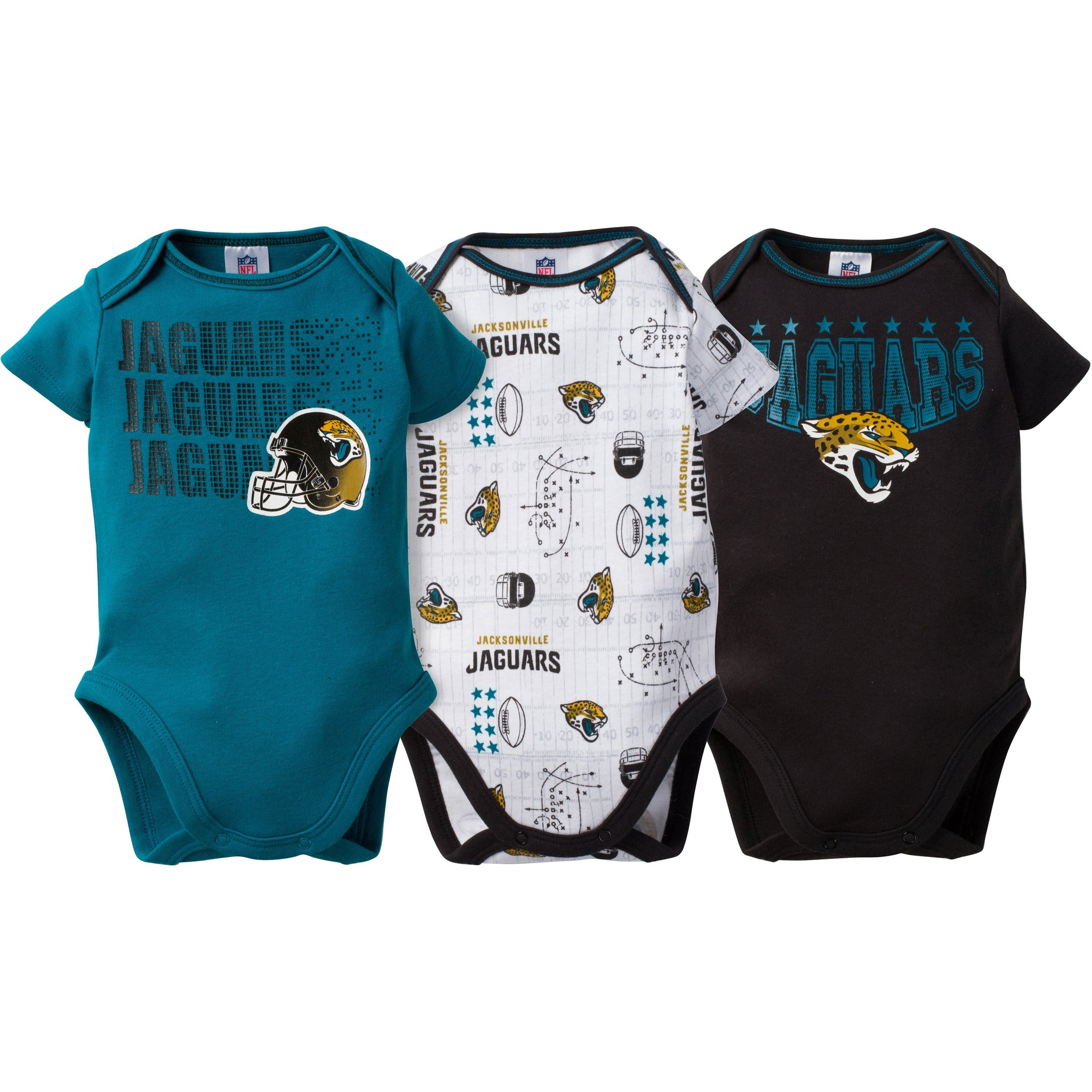 NFL Jaguars 3-Pack Infant Short Sleeve Bodysuits