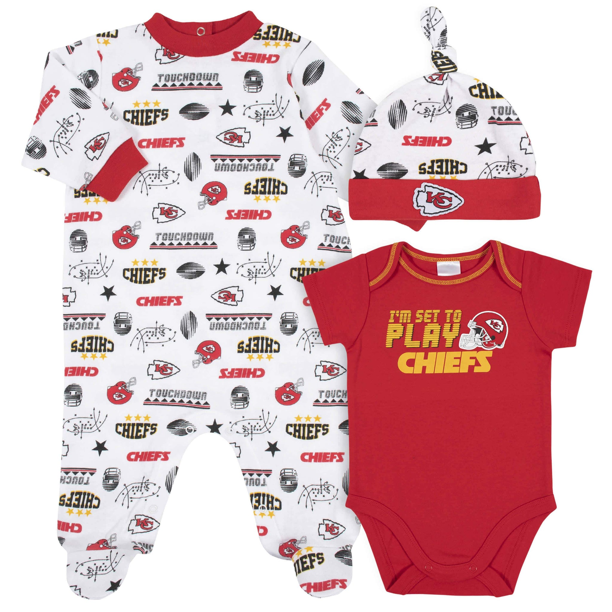 Kansas City Chiefs 3-Piece Baby Boys Bodysuit, Sleep 'N Play, and Cap Set