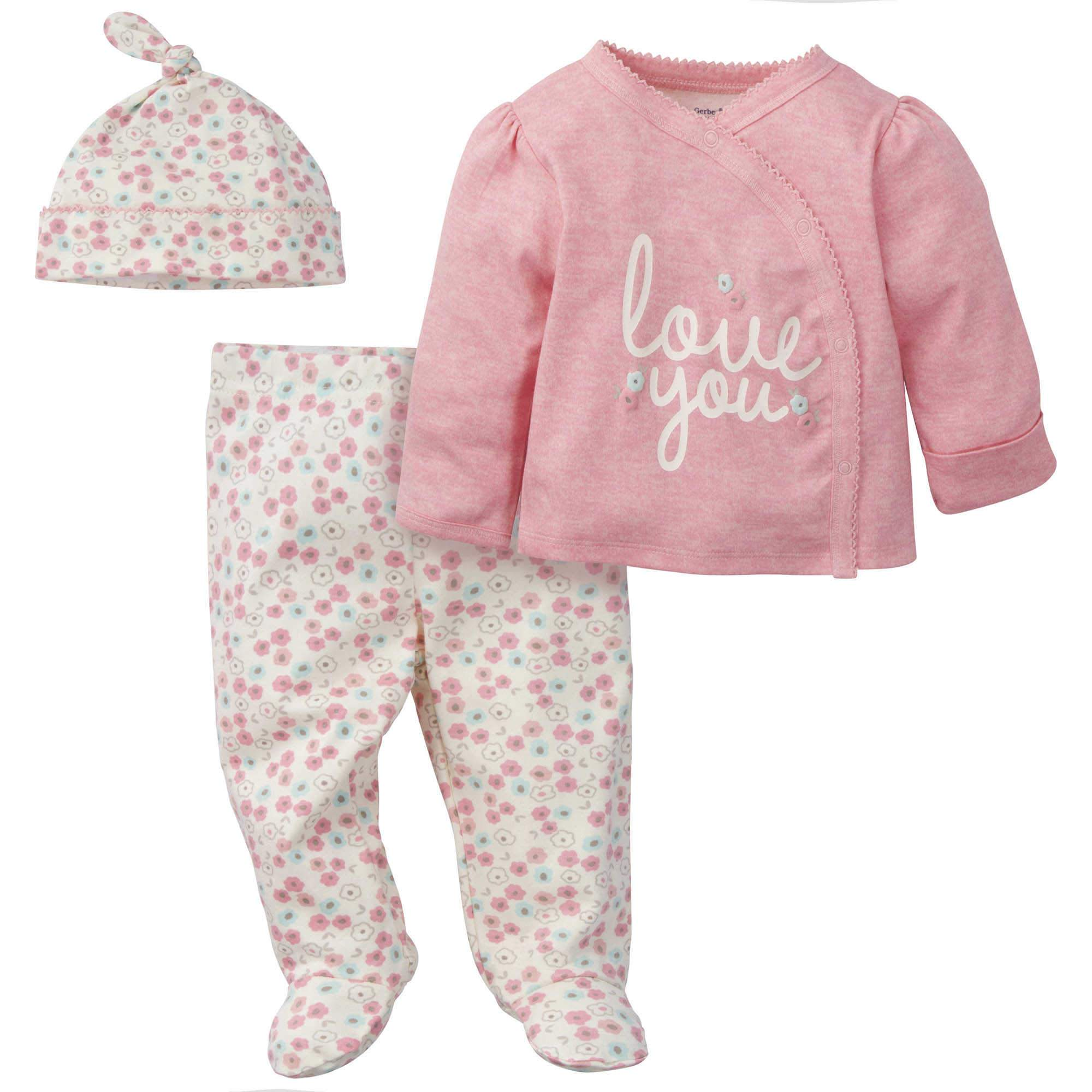 "Gerber® 3-Piece Baby Girls ""Love You"" Organic Take Me Home Set"