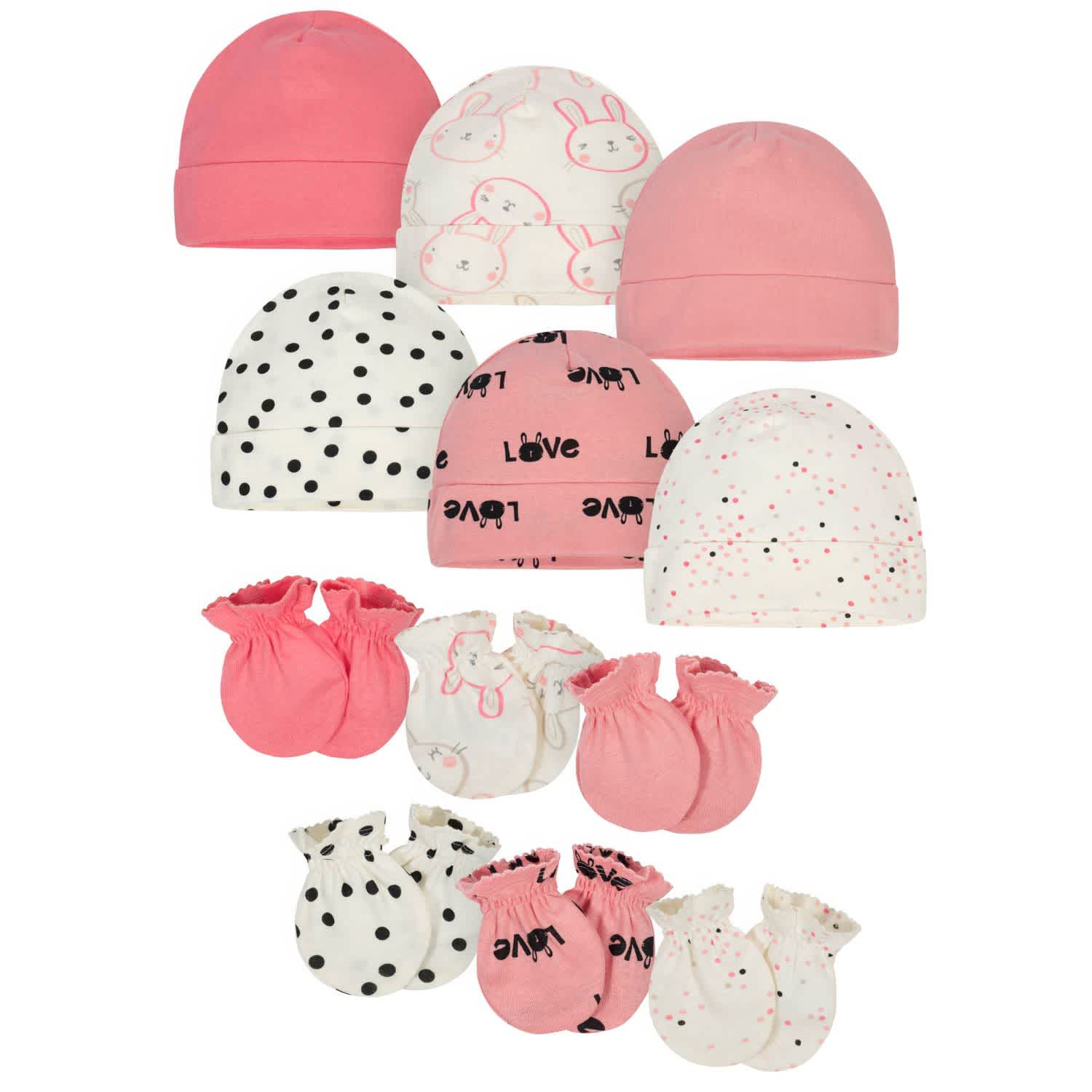 12-Pack Baby Girls' Bunny Cap and Mitten Set