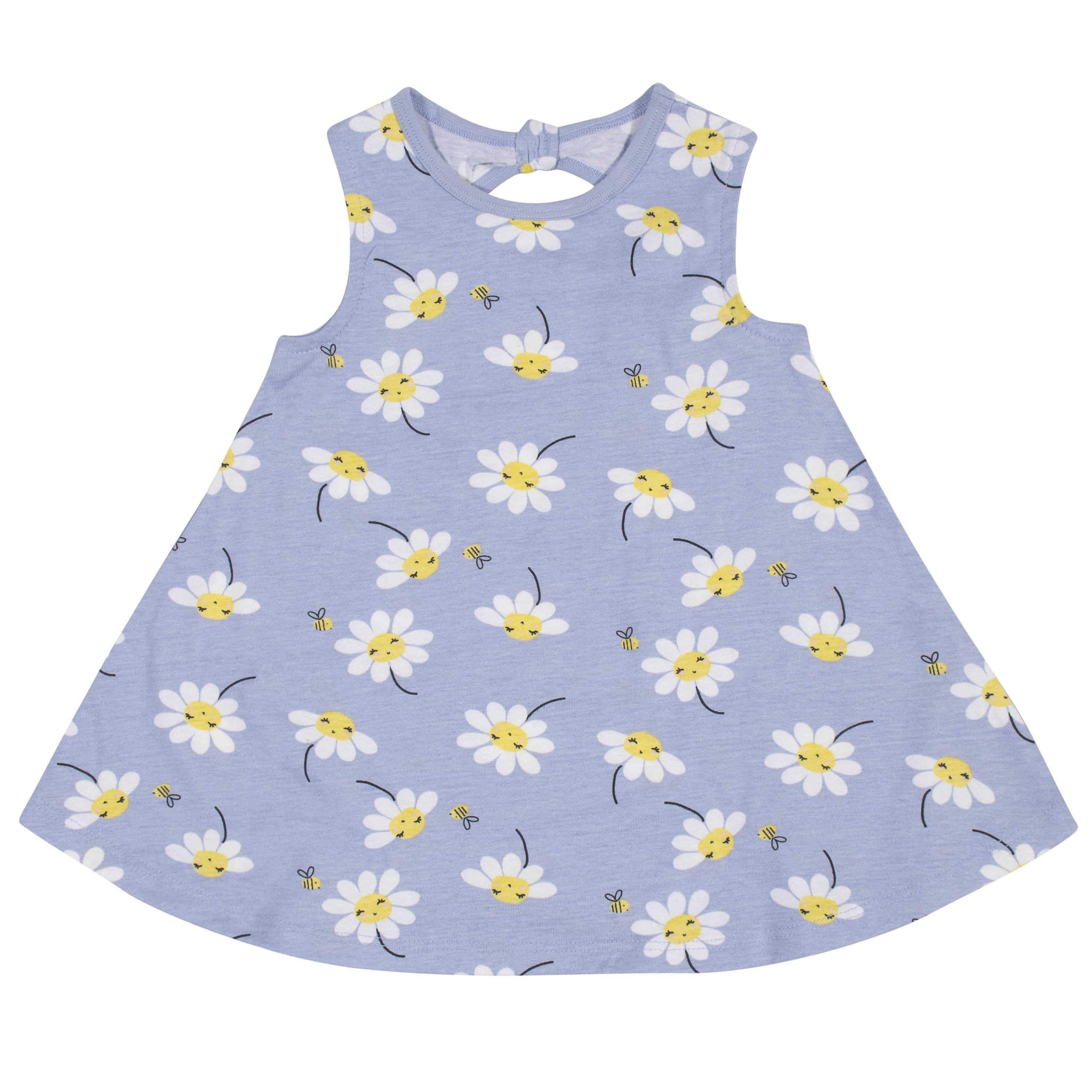 3-Piece Baby Girls' Daisies Dress, Diaper Cover, and Hat Set