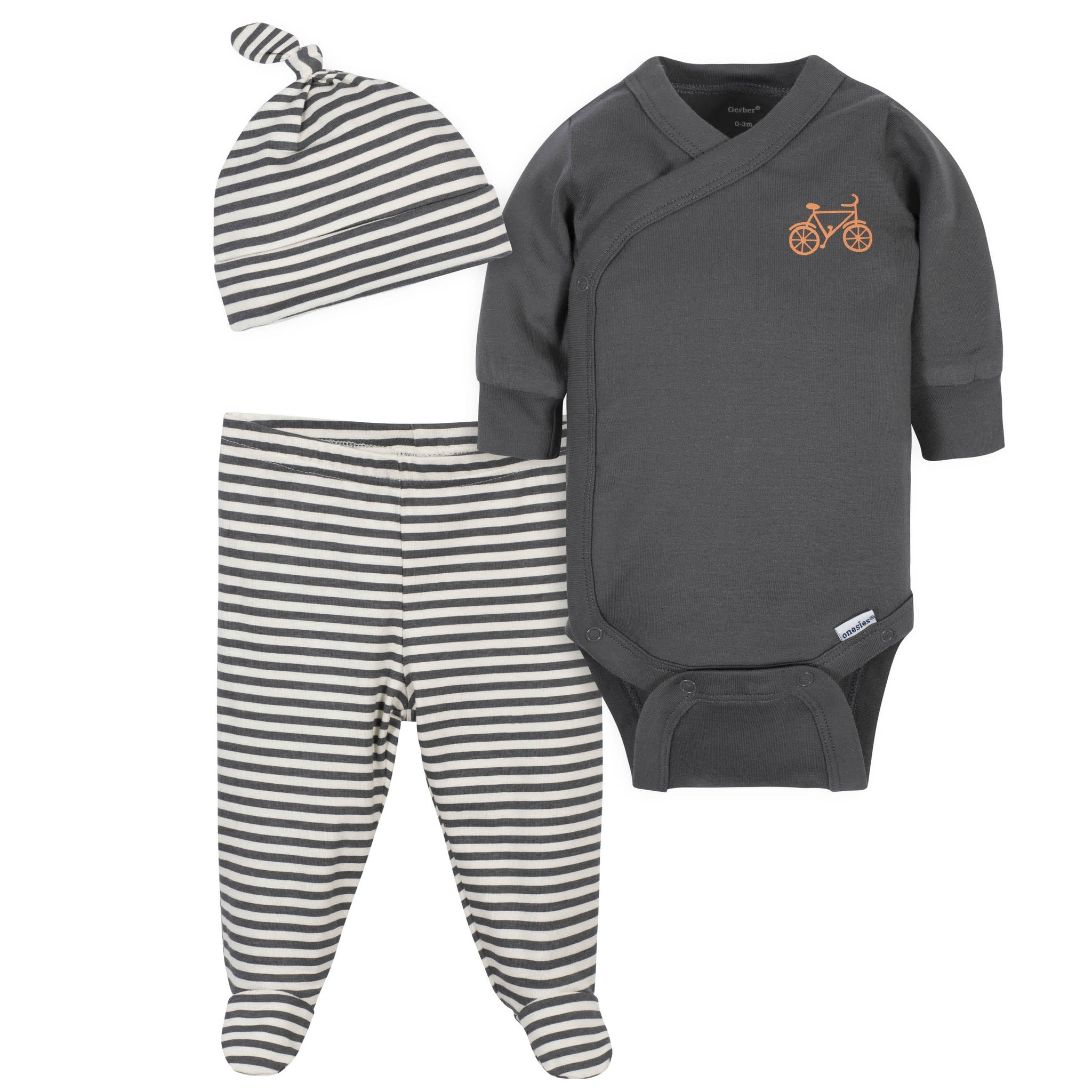3-Piece Baby Boys Grow by Gerber® Bicycle Organic Onesies® Bodysuit, Footed Pant and Cap Set-Gerber Childrenswear