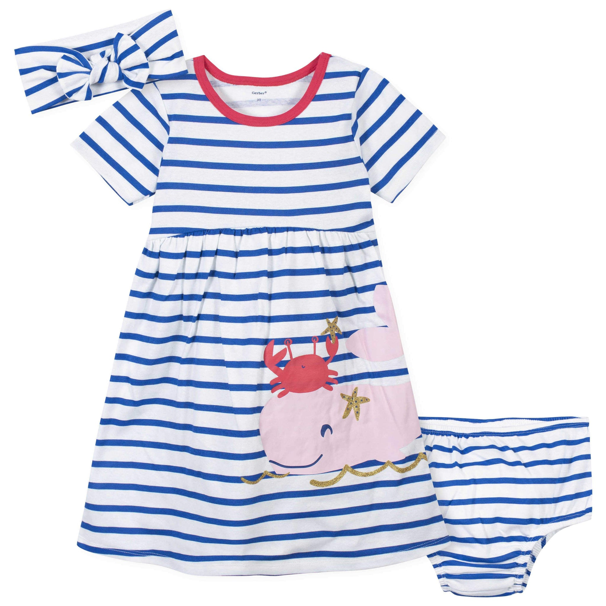 3-Piece Toddler Girls Whale Dress, Diaper Cover, and Headband Set