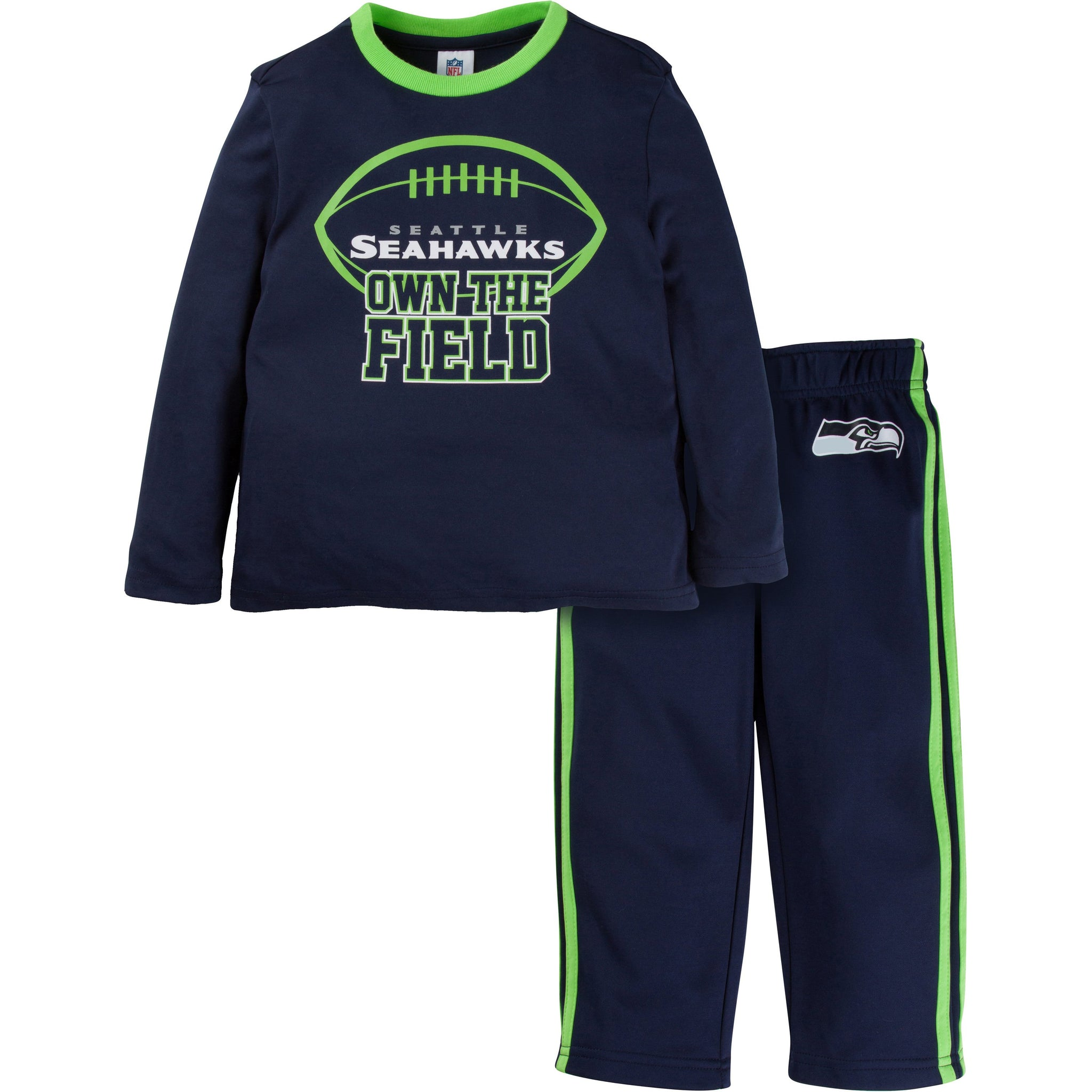 NFL Seattle Seahawks Toddler Boys 2-Piece Performance Long Sleeve Tee Shirt and Pant Set-Gerber Childrenswear