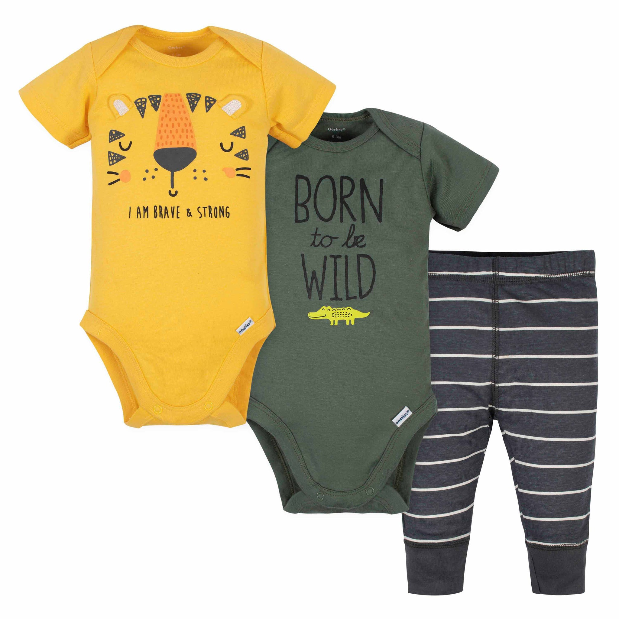 Gerber® 3-Piece Baby Boys Tiger Onesies Bodysuits and Pant Set-Gerber Childrenswear