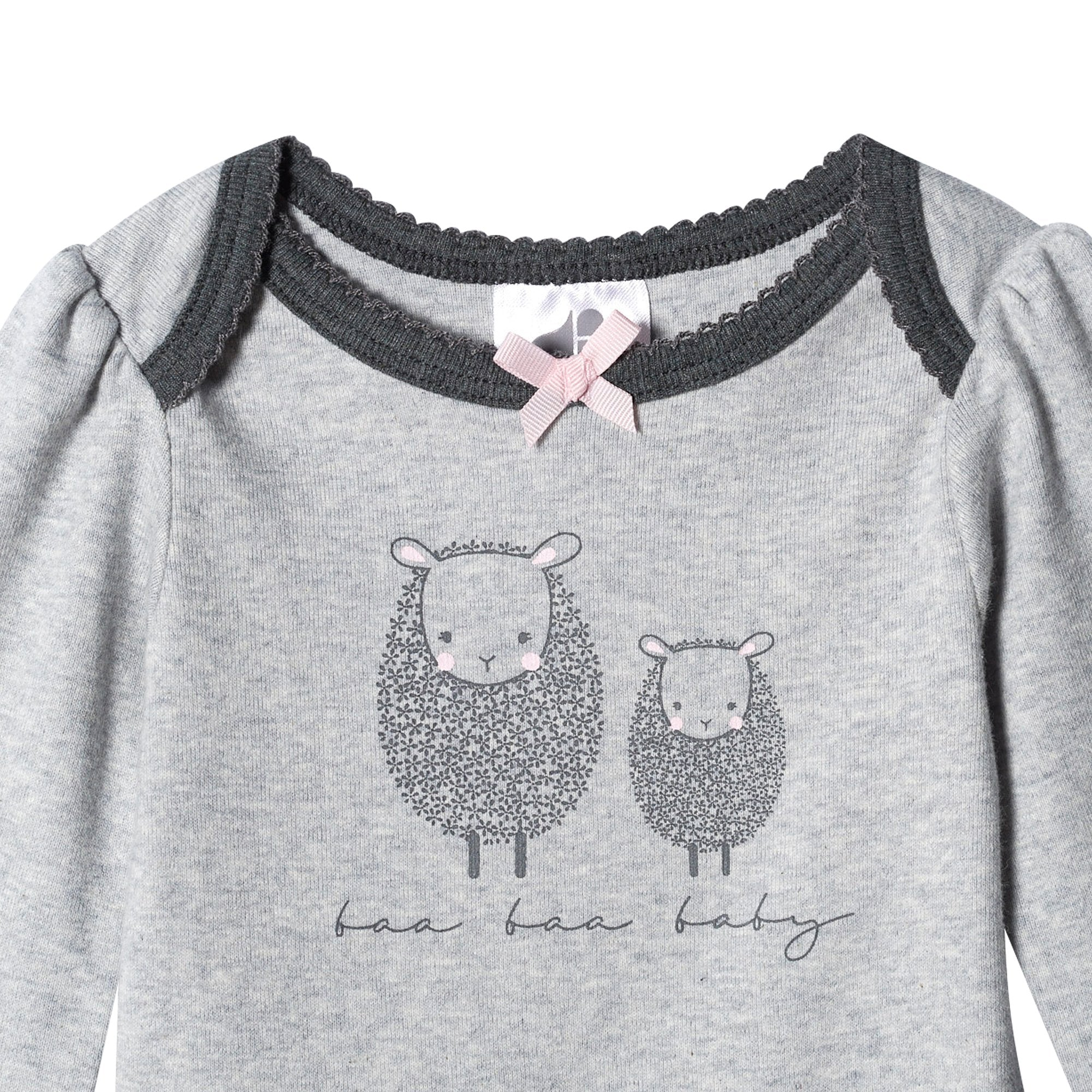 Just Born® Organic Baby Girls 2-Piece Lil' Lamb Long Sleeve Bodysuit and Pant Set