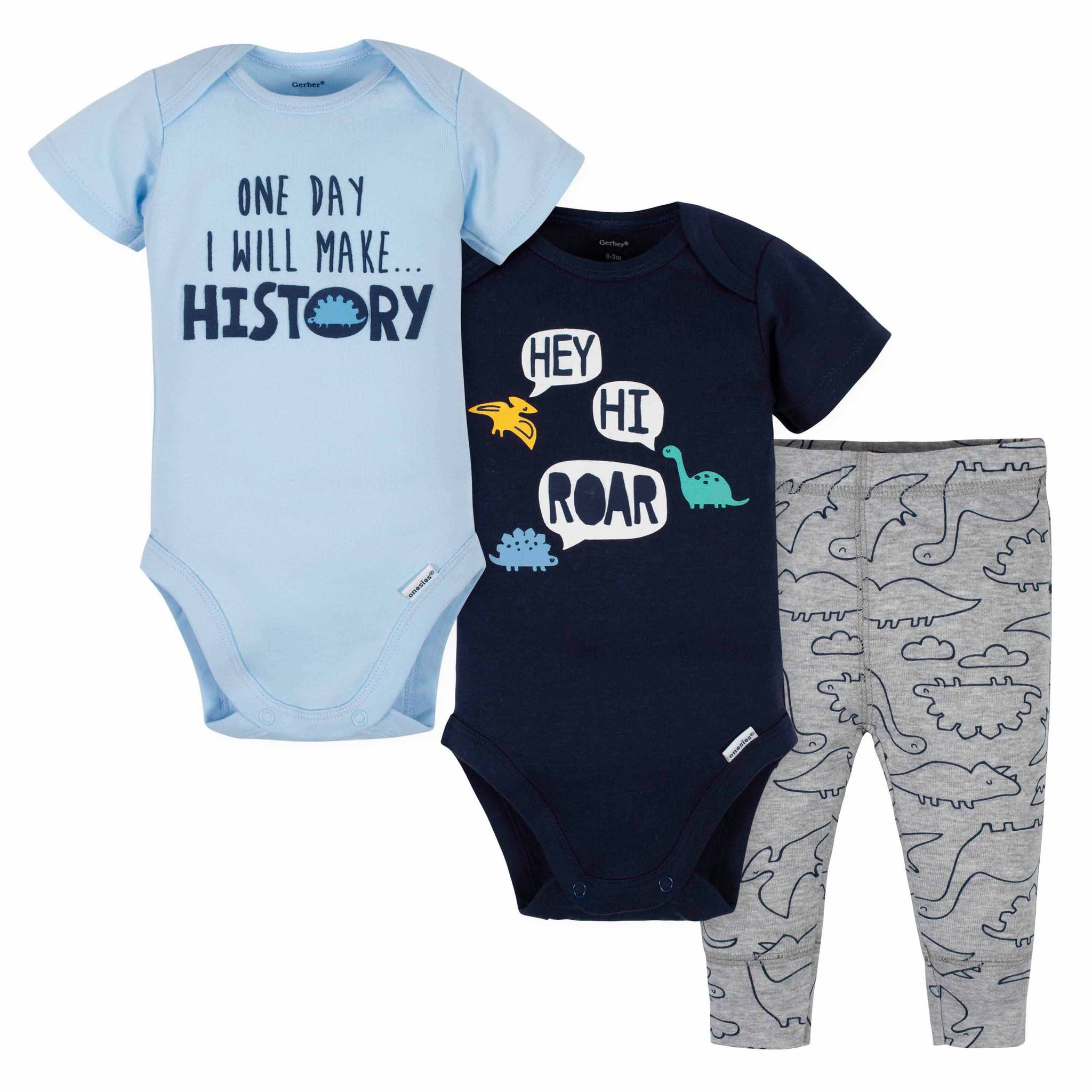 3-Piece Baby Boys Dinos Bodysuits and Pant Set