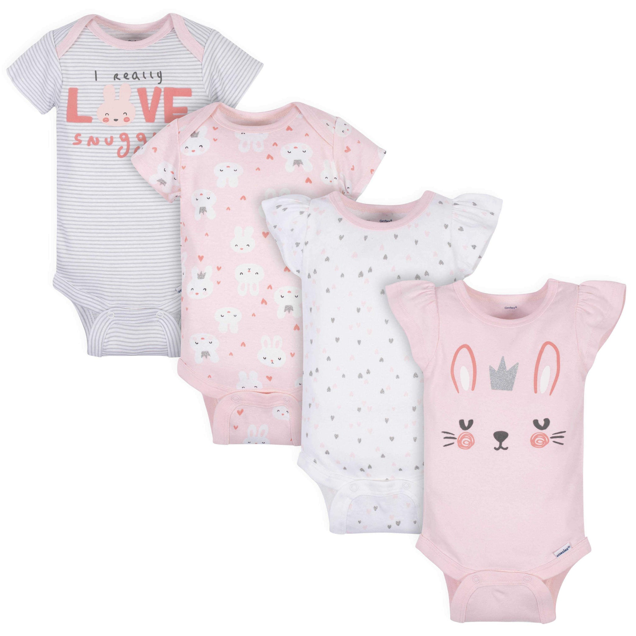 Gerber® 4-Pack Baby Girls Bunny Short Sleeve Onesies Bodysuits-Gerber Childrenswear