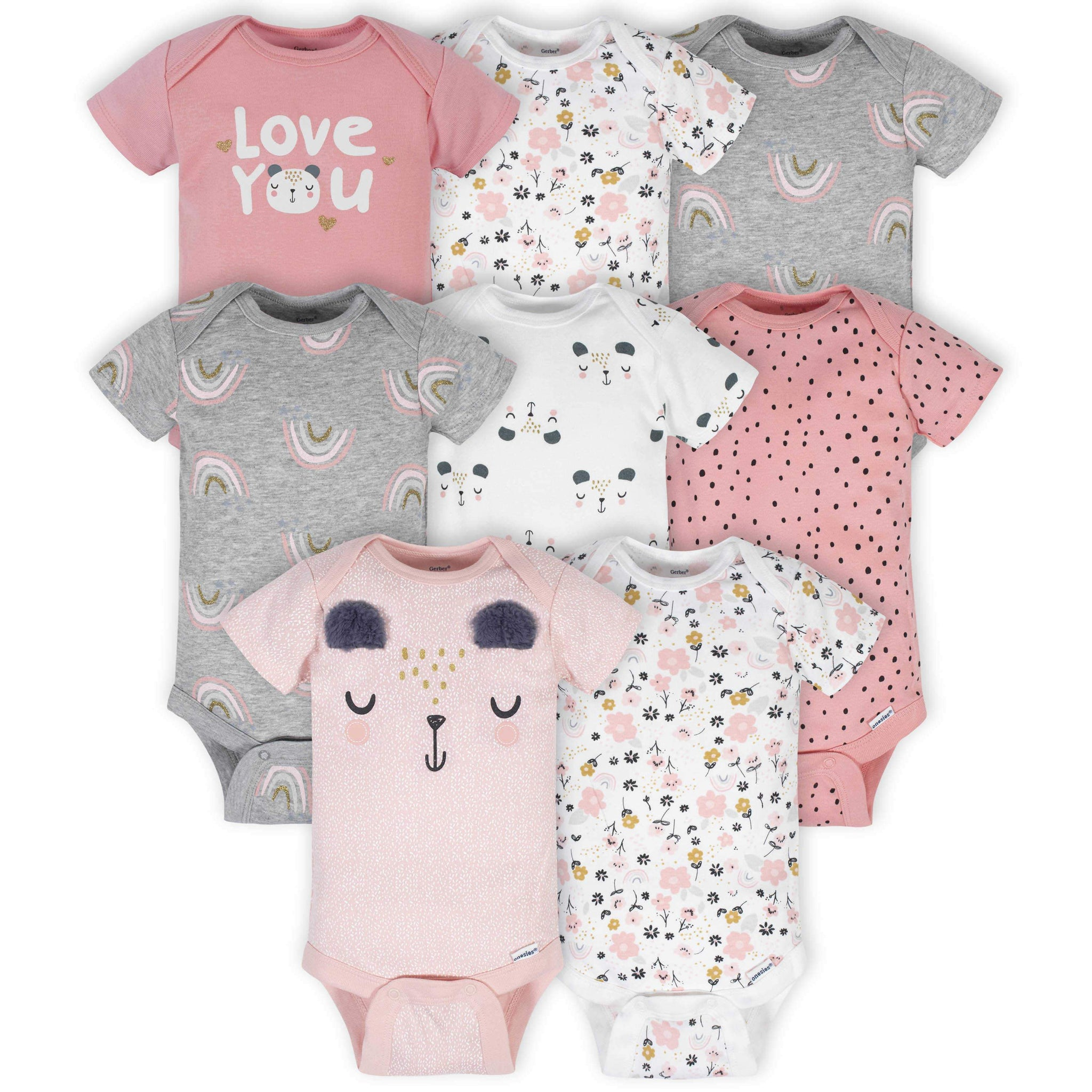 Gerber® 8-Pack Baby Girls Bear Short Sleeve Onesies® Bodysuits