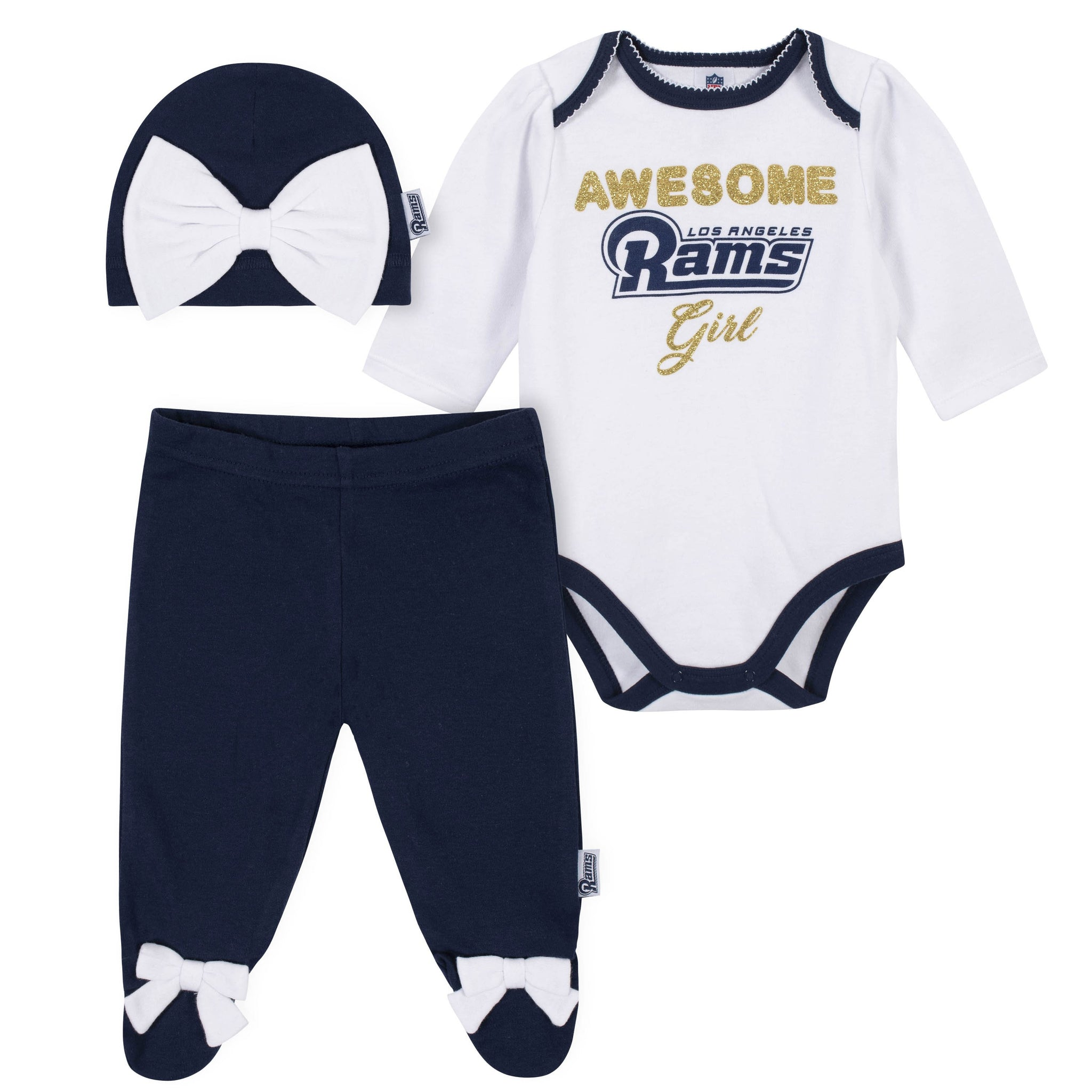 Los Angeles Rams Girl Outfit, 3pc  Bodysuit, Pant, and Cap Set - Rams