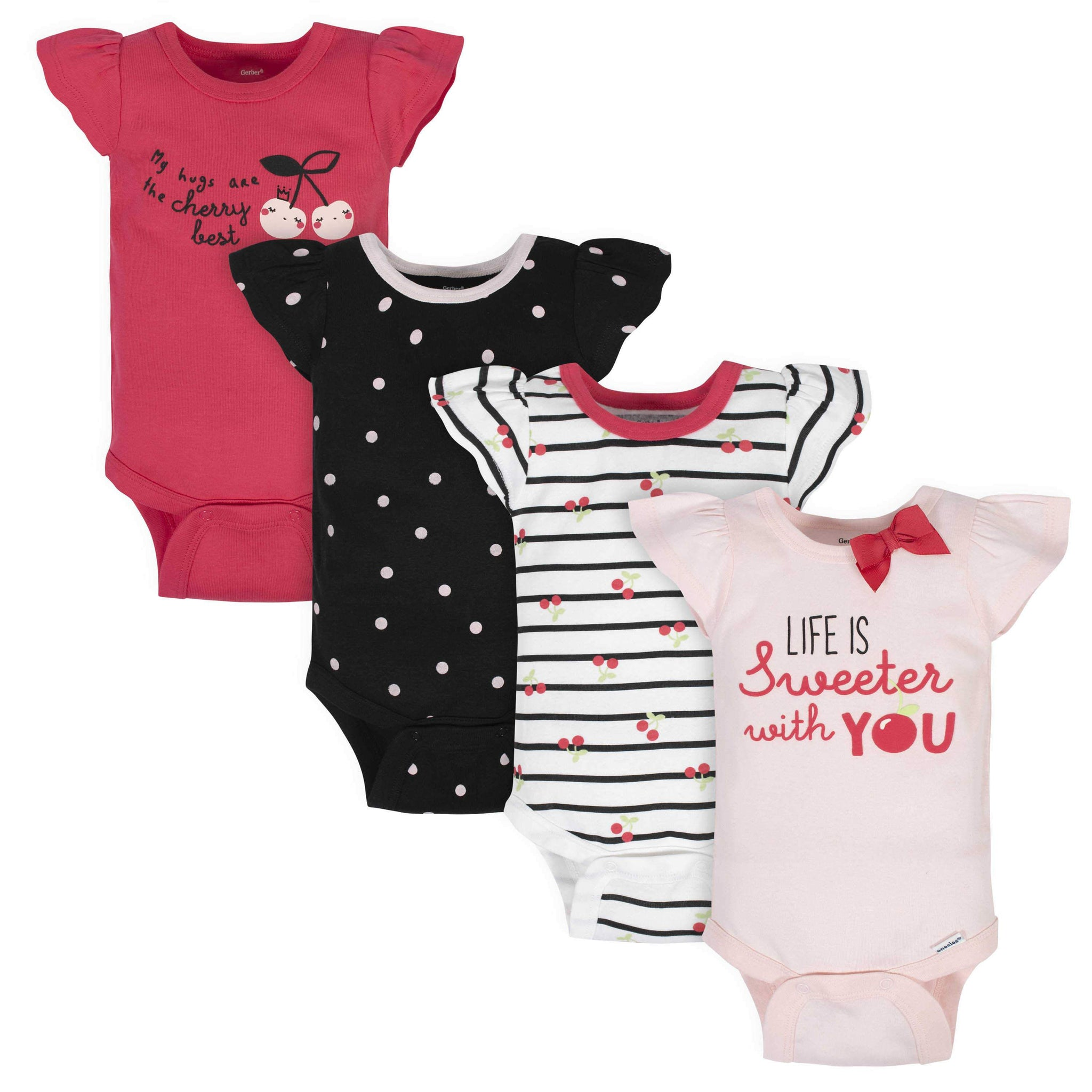 4-Pack Baby Girls Cherry Short Sleeve Onesies Bodysuits