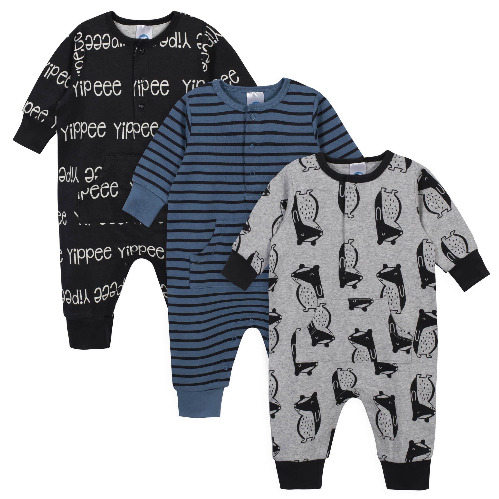 3-Piece Baby Boys Grow by Gerber® Badger Organic Coverall Set-Gerber Childrenswear