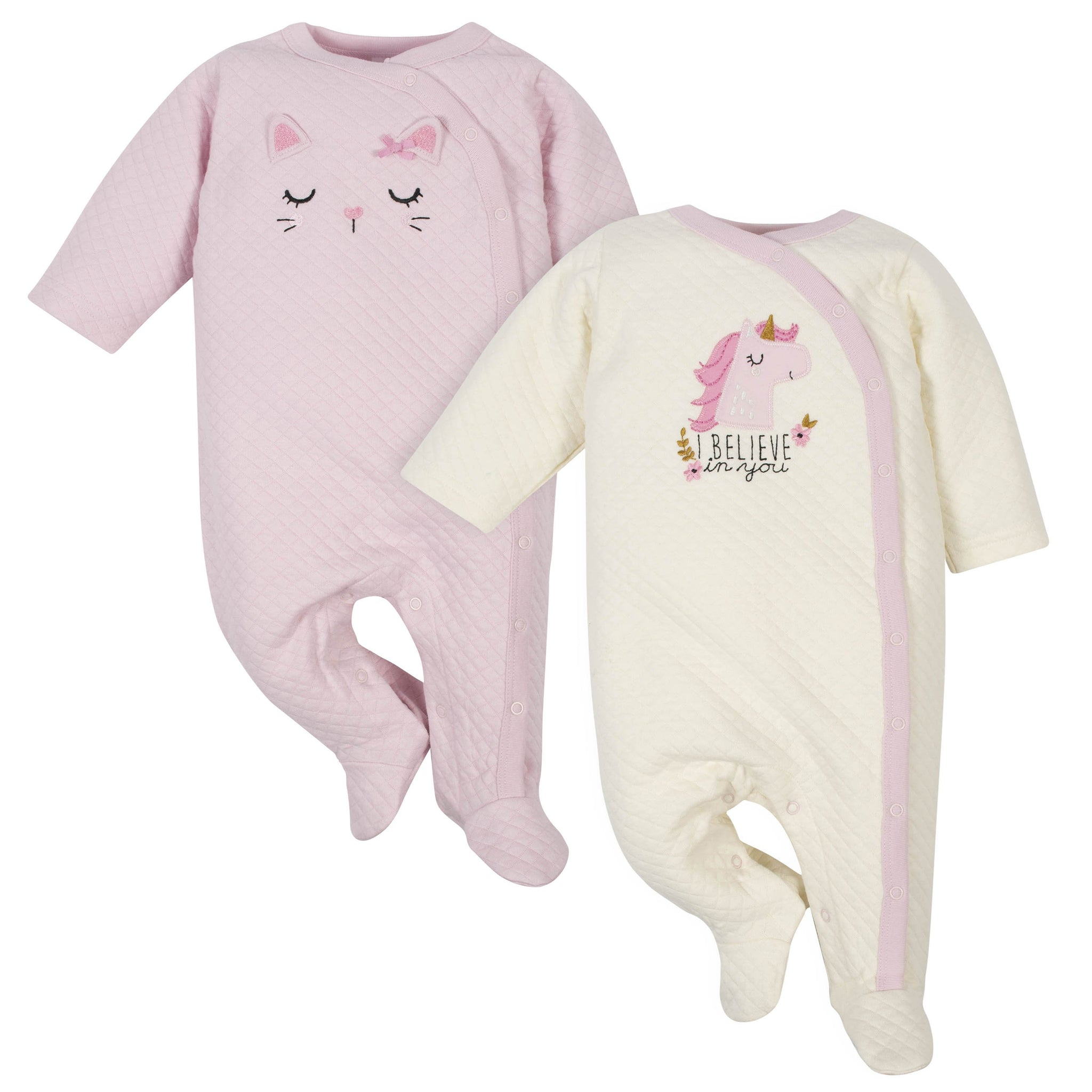 2-Pack Baby Girls' Cat and Unicorn Quilted Sleep 'n Plays