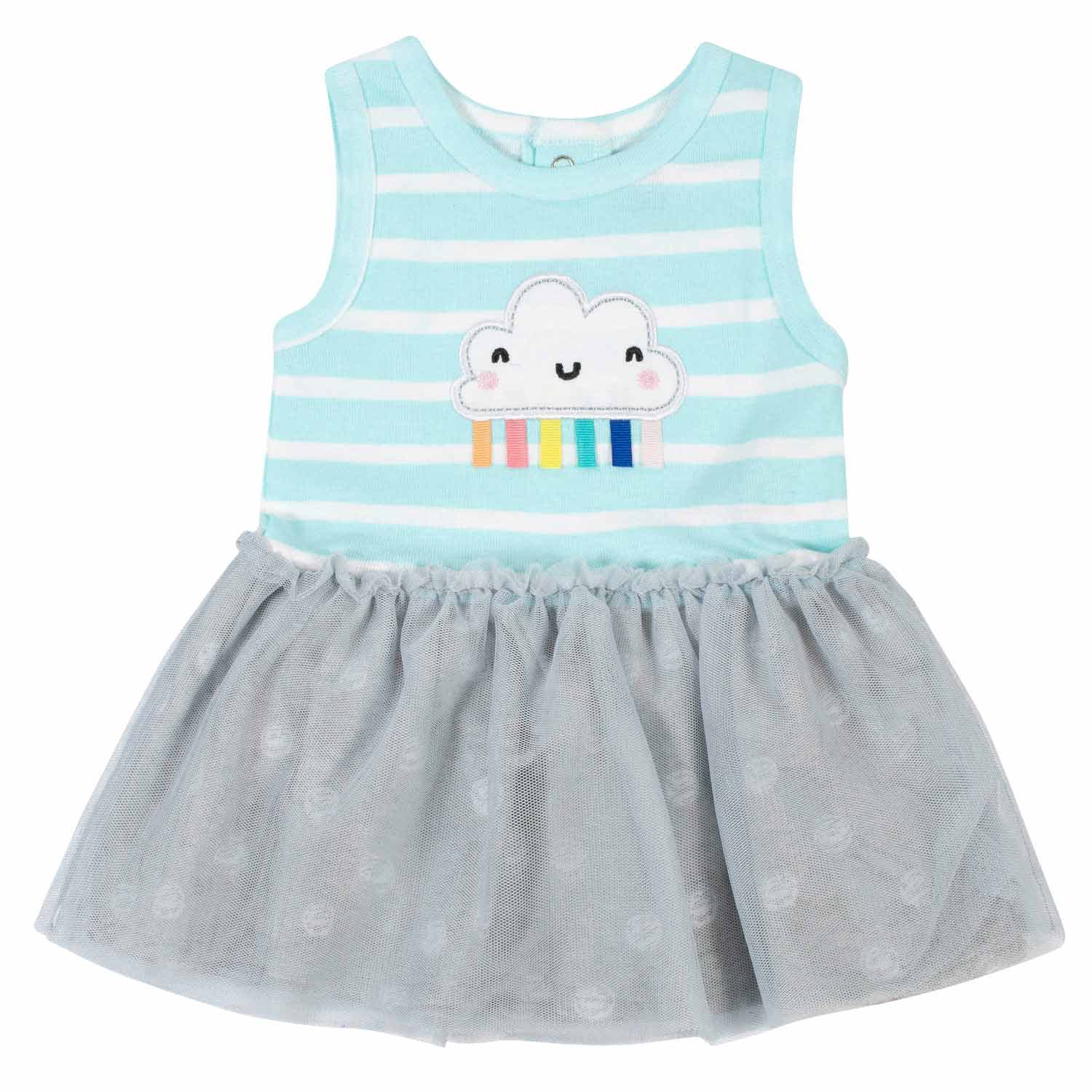 2-Piece Baby Girls Clouds Tulle Dress and Diaper Cover