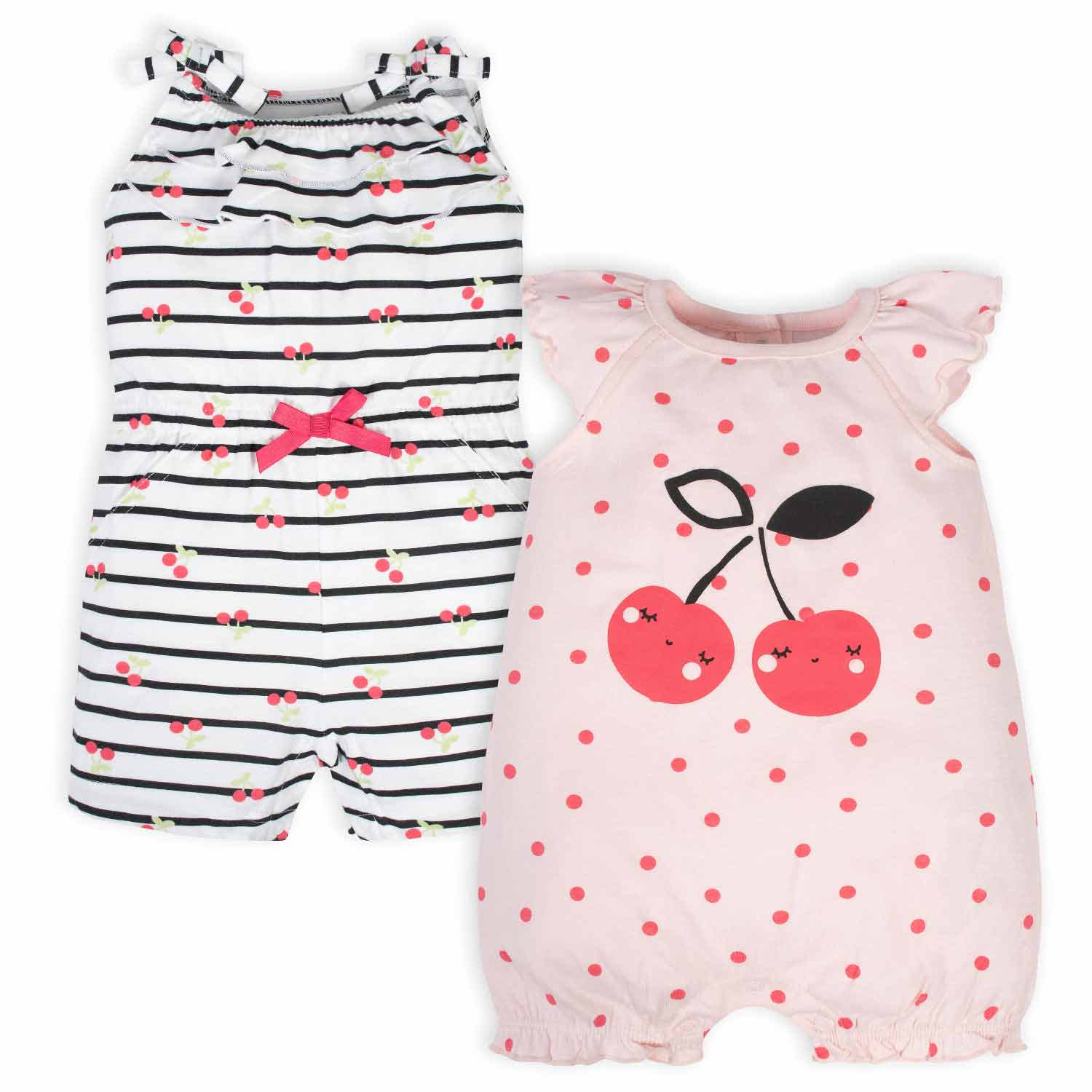 Gerber® 2-Pack Baby Girls Cherry Rompers