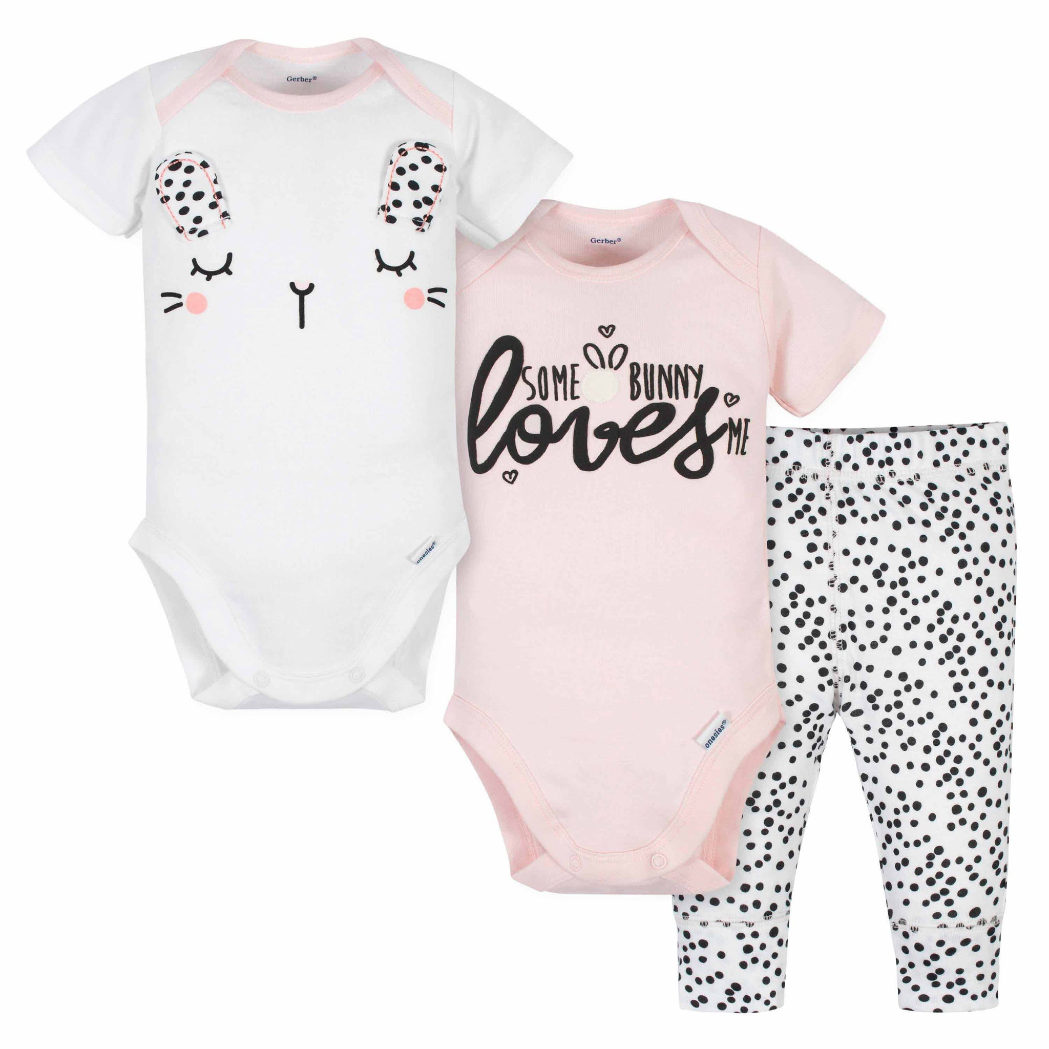 Gerber® 3-Piece Baby Girls Bunny Onesies Bodysuits and Pant Set