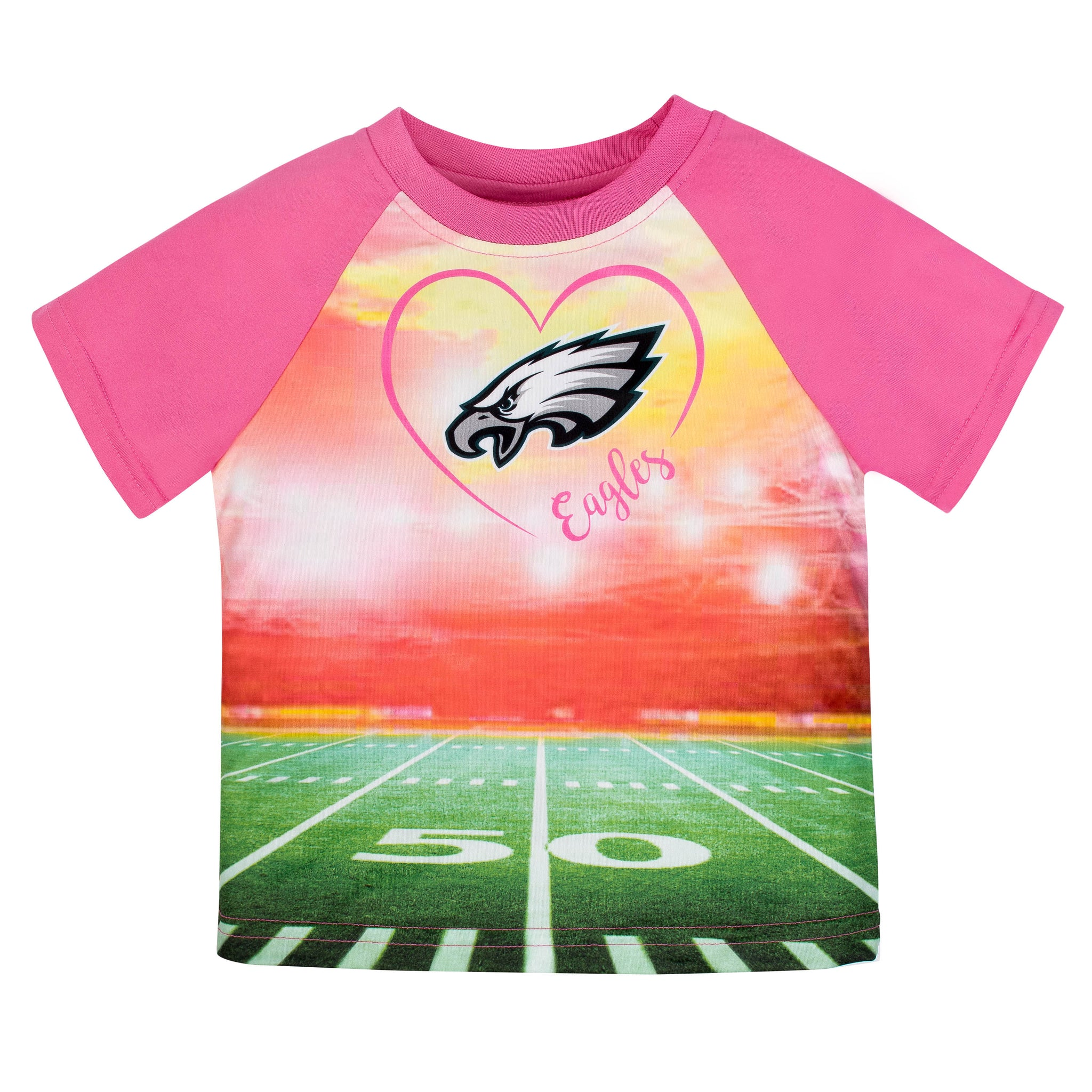 Philadelphia Eagles Girls Short Sleeve Tee Shirt-Gerber Childrenswear