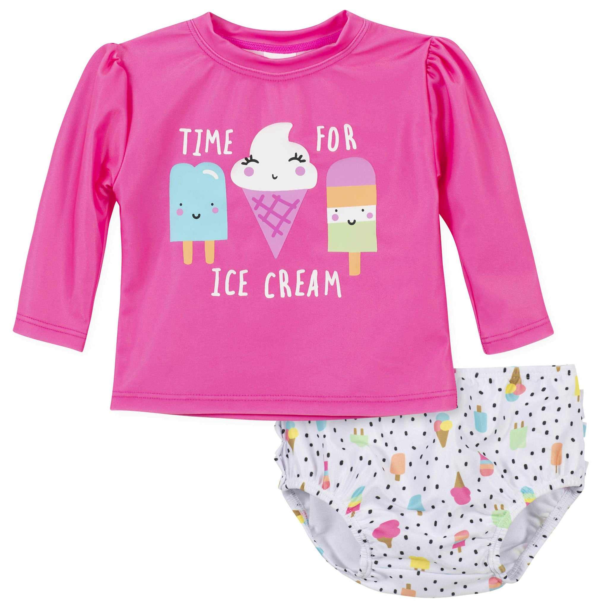 Gerber® 2-Piece Baby Girls Ice Cream Rashguard and Swim Bottom Set