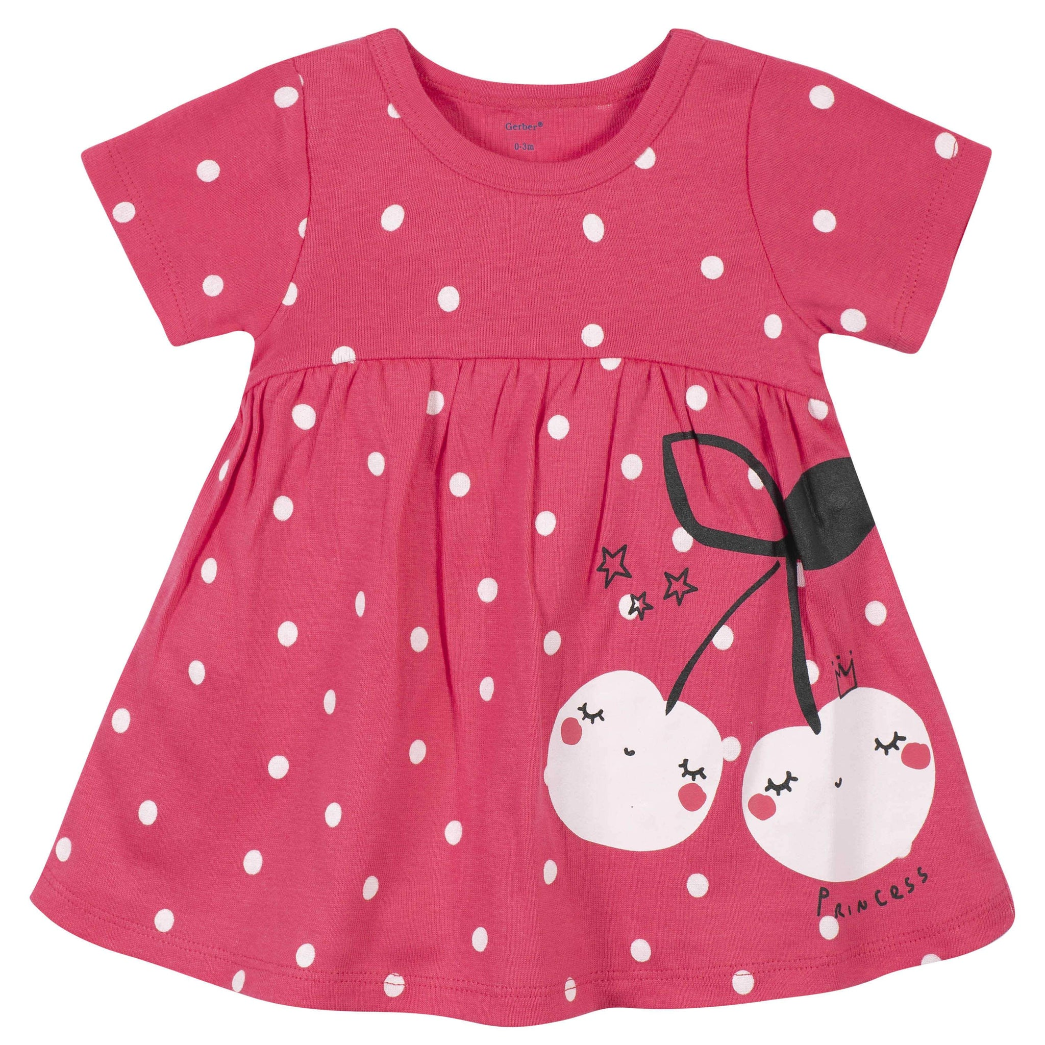 Gerber® 3-Piece Baby Girls Cherry Dots Dress, Diaper Cover, and Headband Set