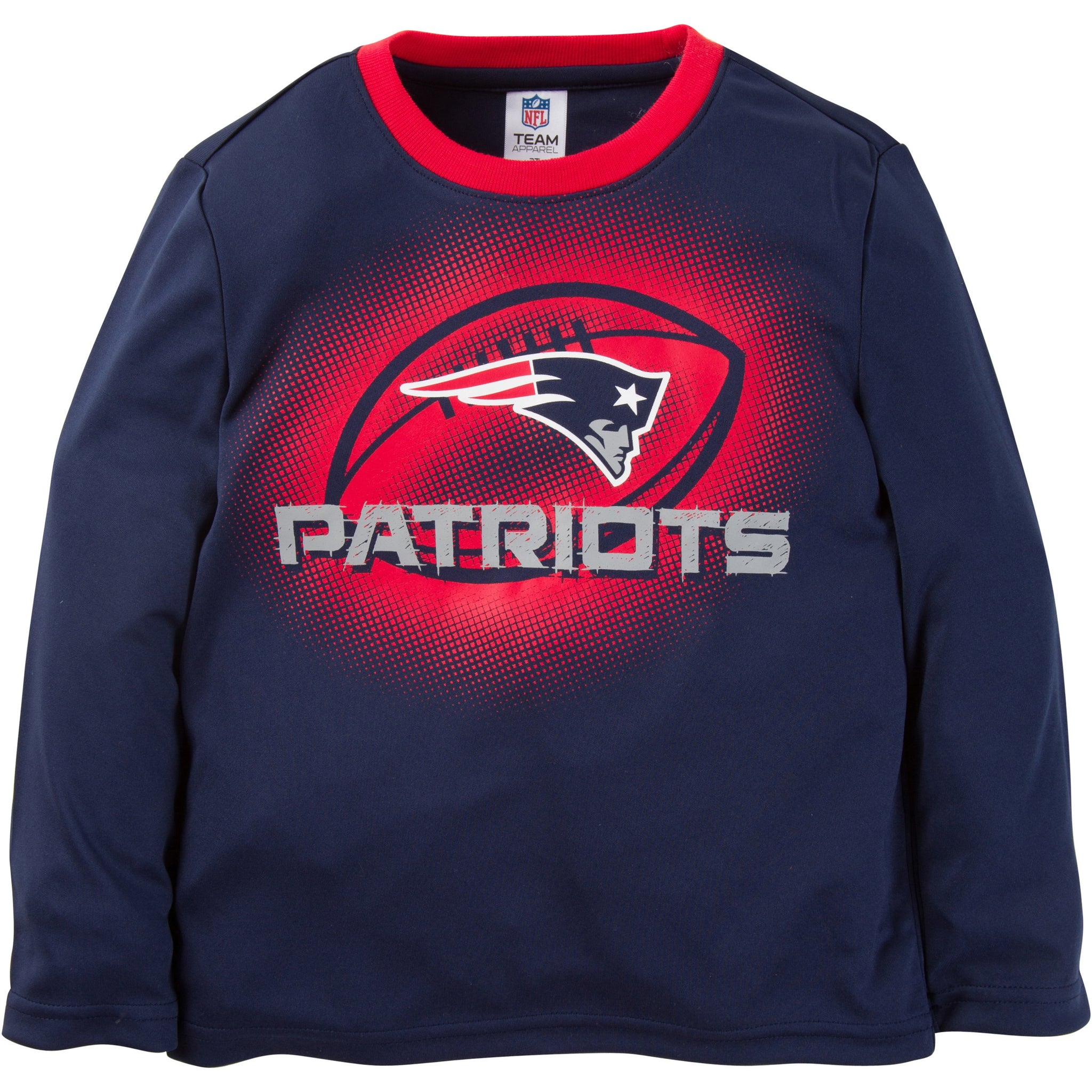 NFL New England Patriots Toddler Boys Long Sleeve Performance Tee Shirt-Gerber Childrenswear