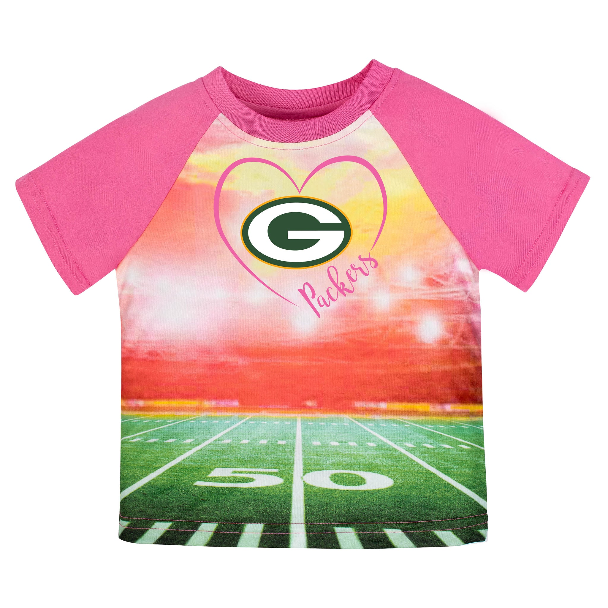 Green Bay Packers Girls Short Sleeve Tee Shirt-Gerber Childrenswear