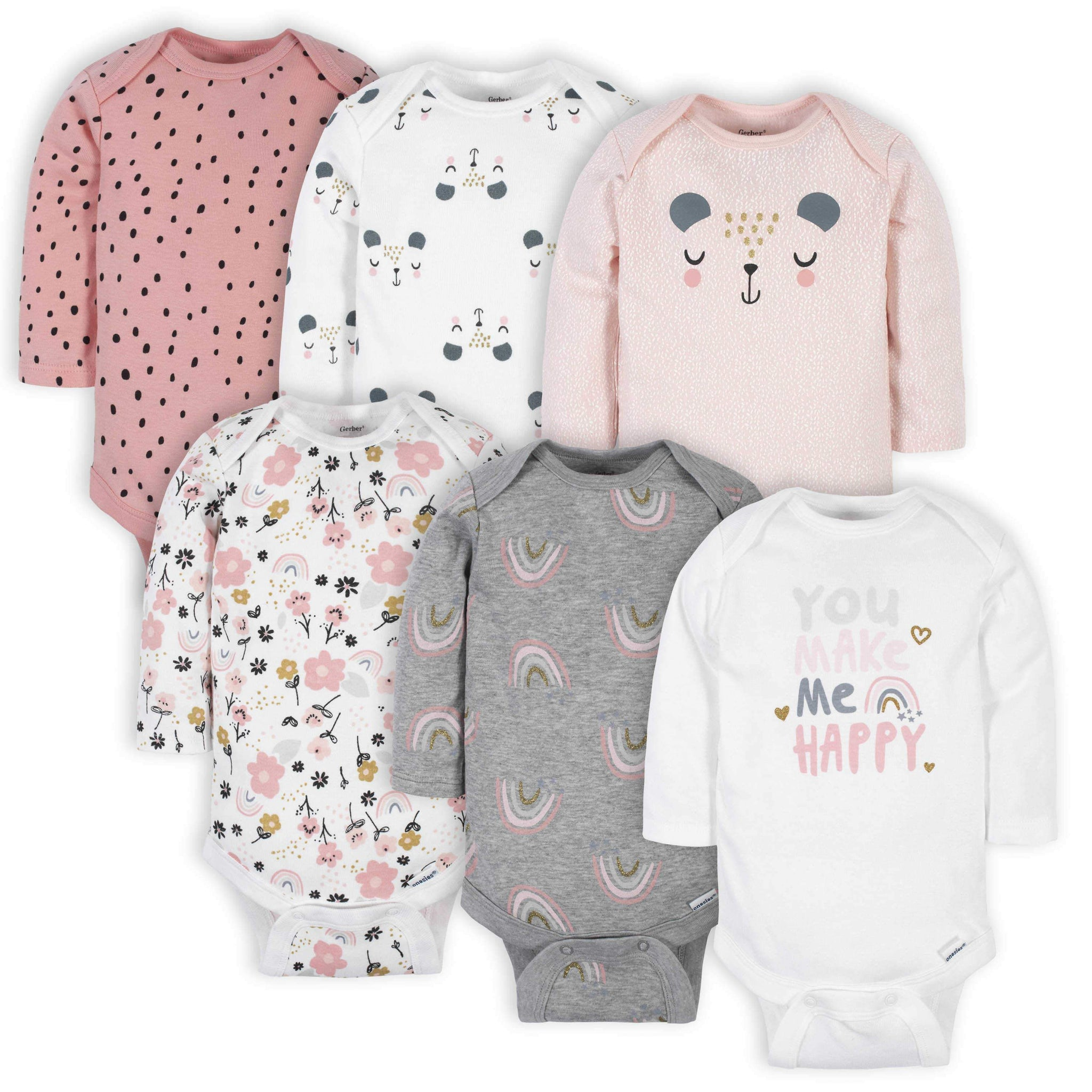 Gerber® 6-Pack Baby Girls Bear Long Sleeve Onesies® Bodysuits