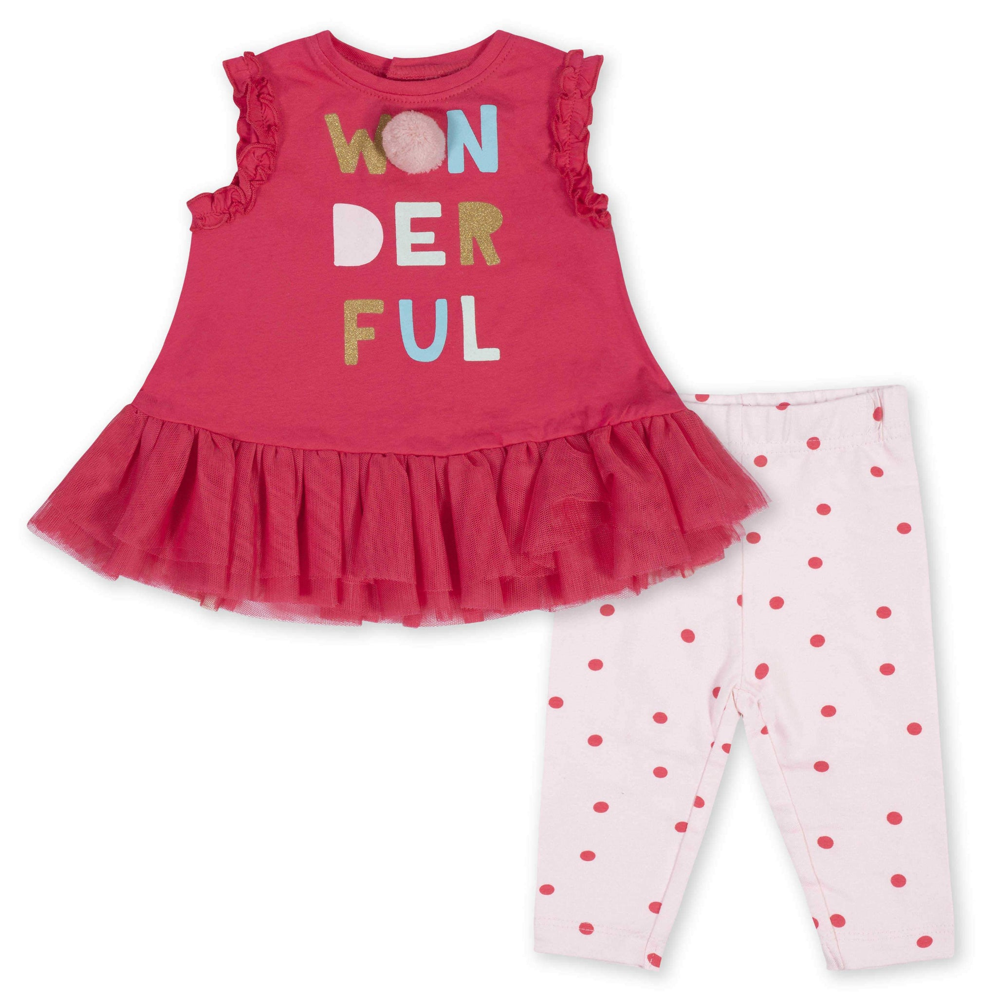 2-Piece Baby Girls Ruffled Wonderful Tunic and Legging Set