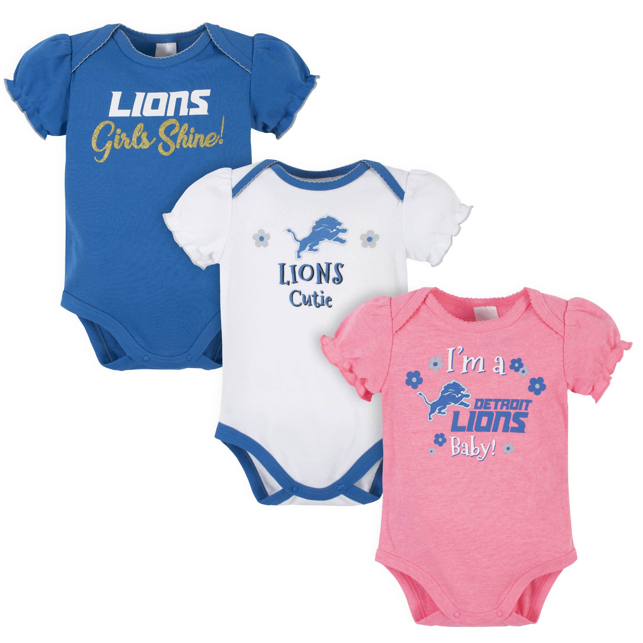 Detroit Lions Baby Girls Short Sleeve Bodysuits-Gerber Childrenswear