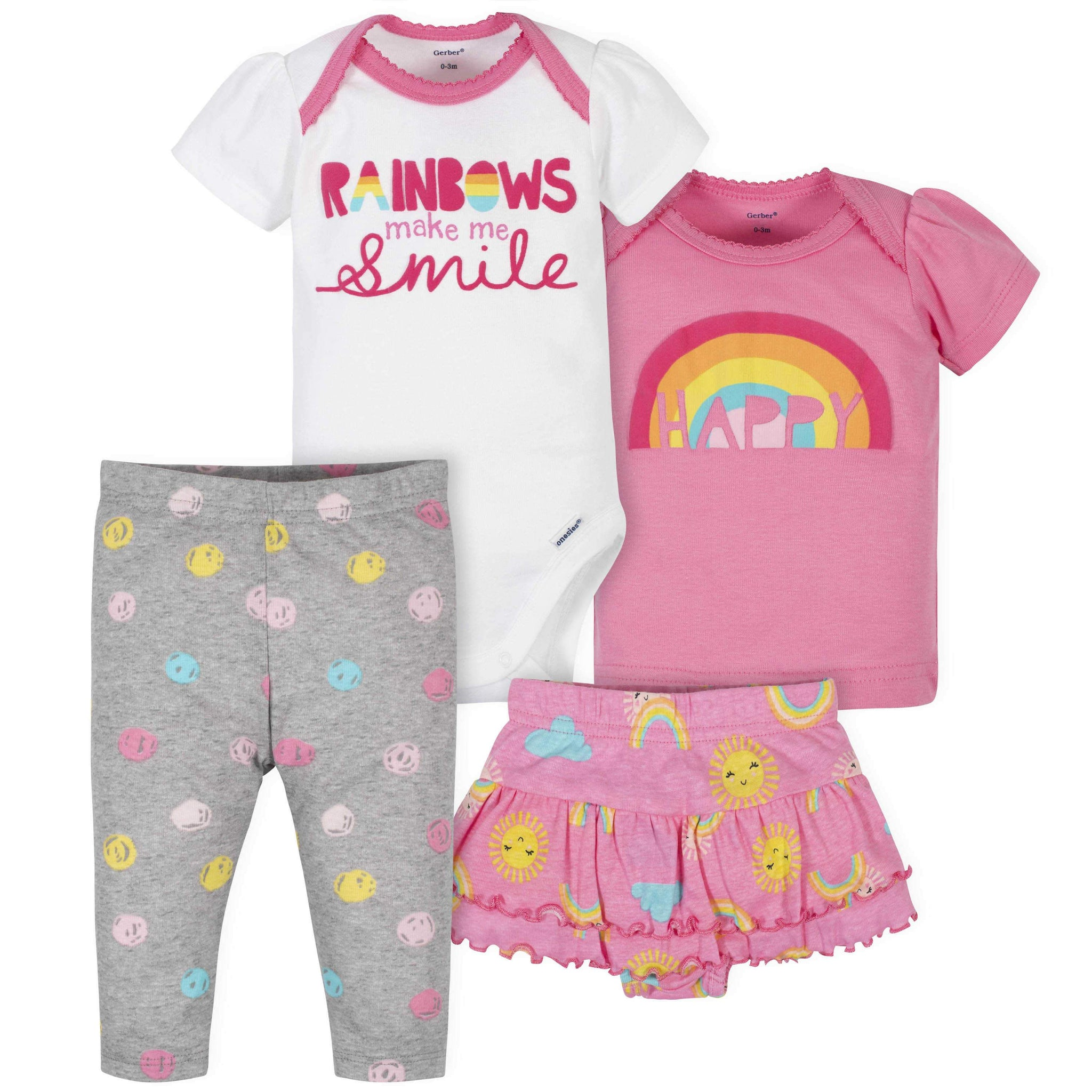 Gerber® 4-Piece Baby Girls Rainbow Onesies Bodysuit, Skirted Panty, Shirt, and Slim Pant Set