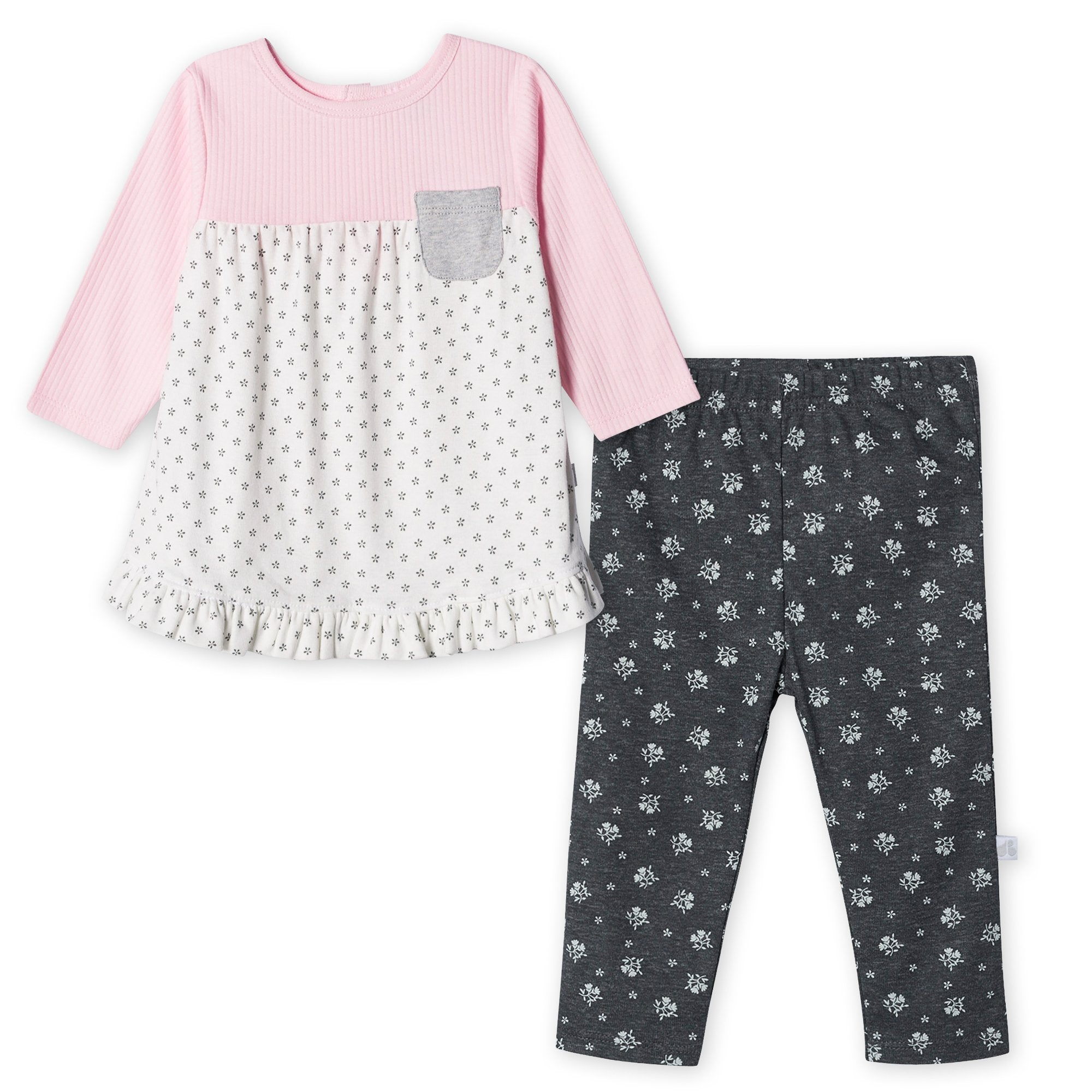 Just Born® Organic Baby Girls 2-Piece Lil' Lamb Shirt and Pant Set