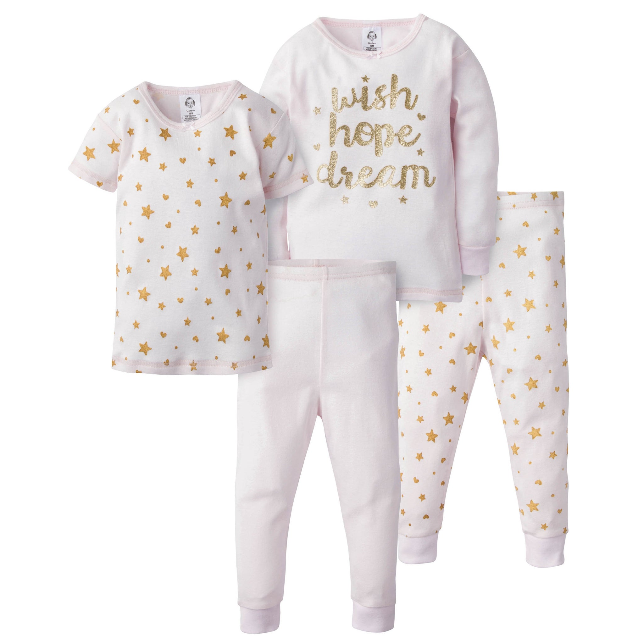 4-Piece Girls Cotton Pajamas - Wish Hope Dream