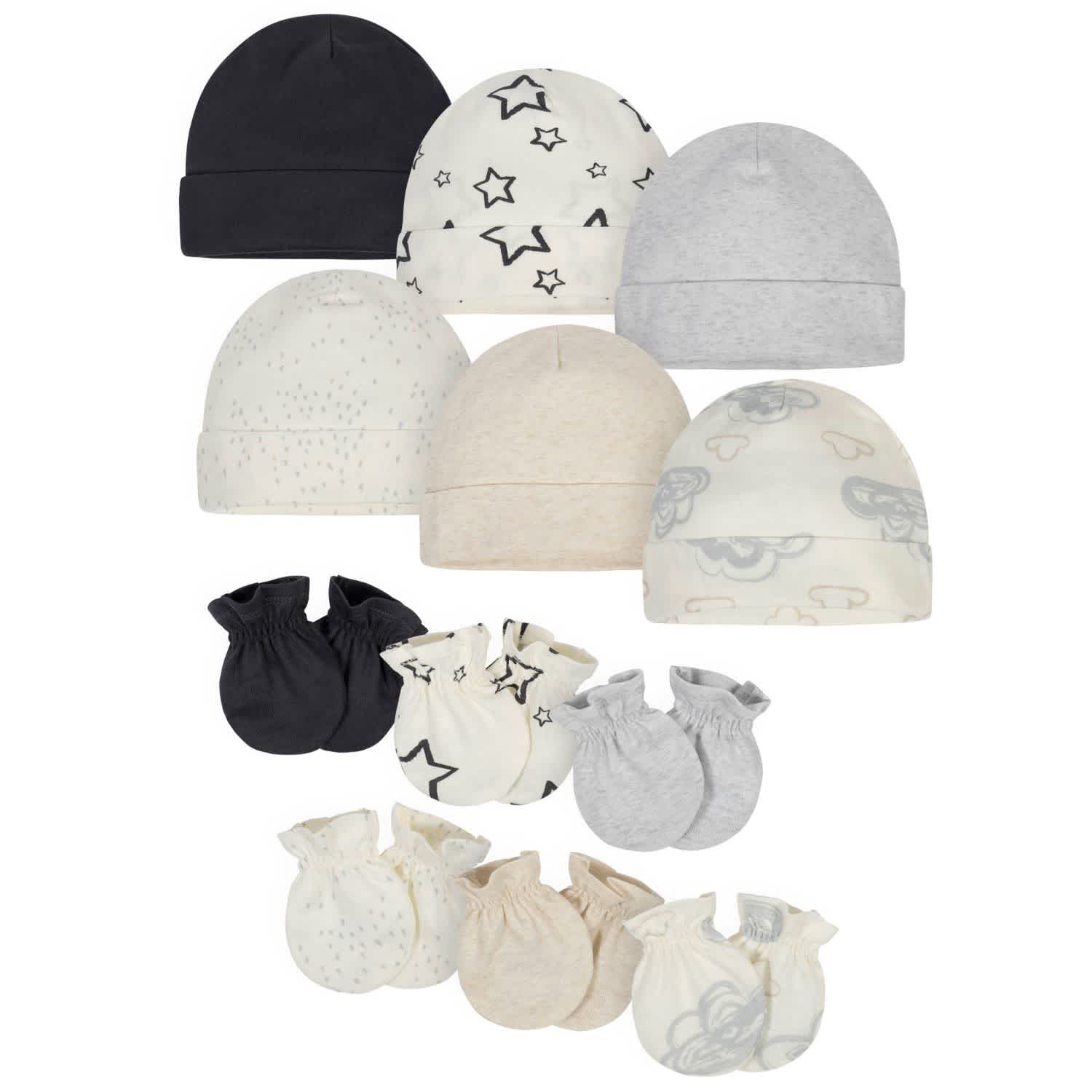 12-Pack Baby Neutral Words Cap and Mitten Set