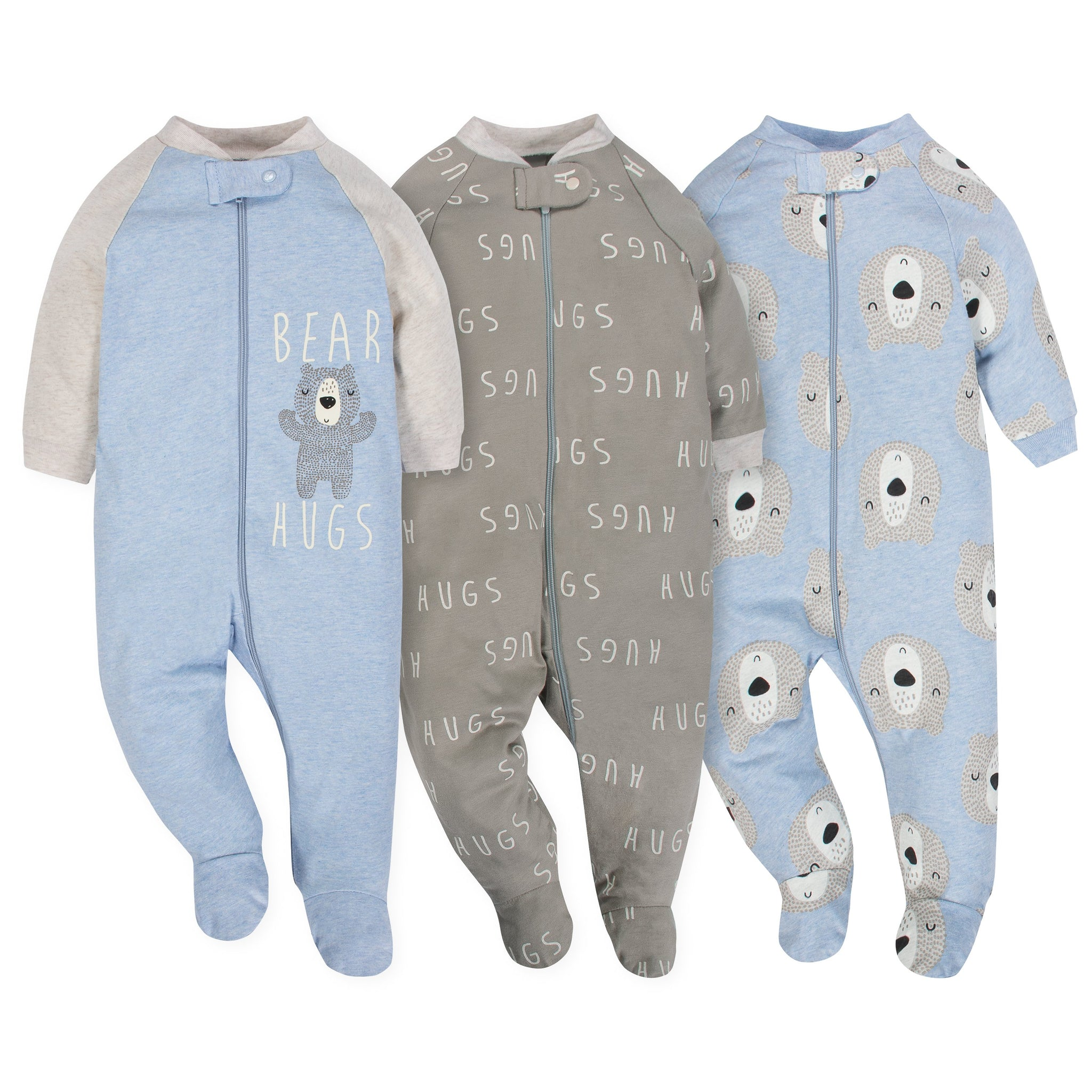 Gerber 3-Pack Organic Baby Boy Sleep N' Play Set - Hugs