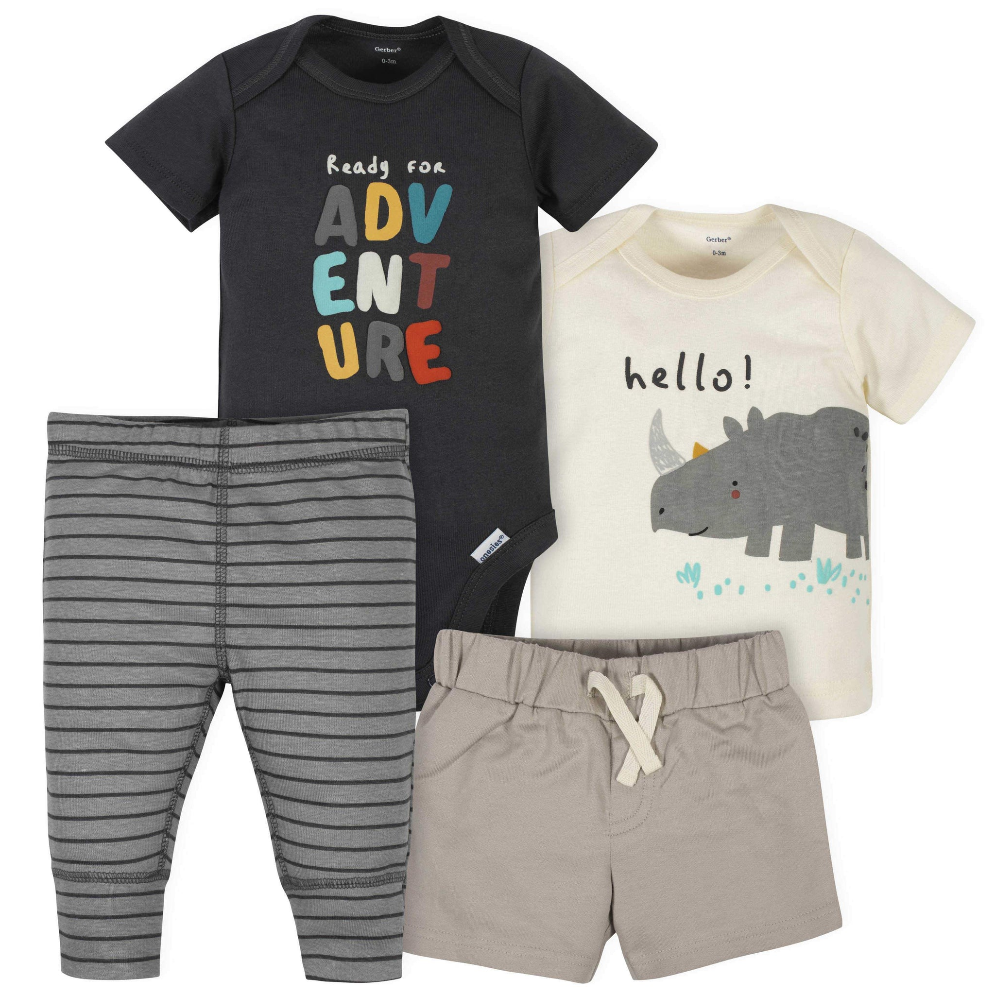4-Piece Baby Boys Rhino Onesies Bodysuit, Short, Shirt, and Active Pant Set
