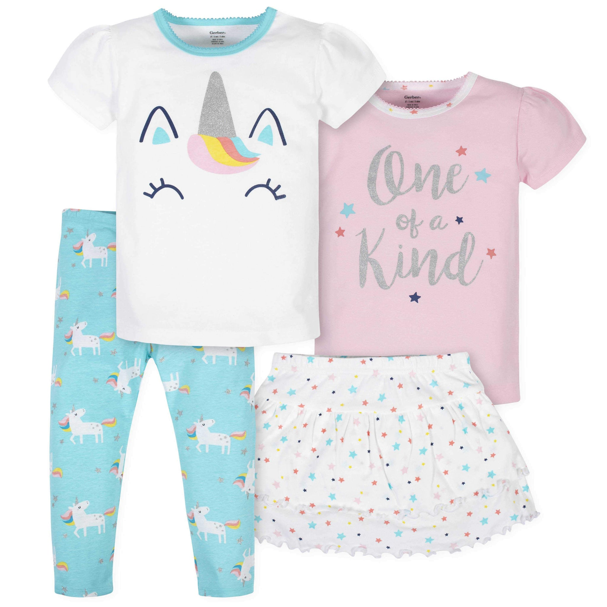 4-Piece Girls Unicorn Skirted Panty, Shirts, and Slim Pant Set