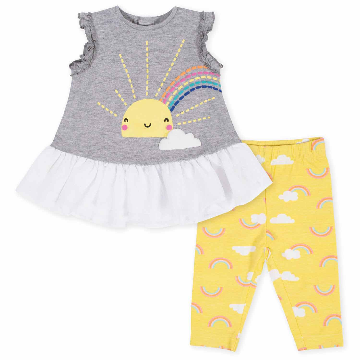 Gerber® 2-Piece Baby Girls Sunshine Ruffled Tunic and Legging Set