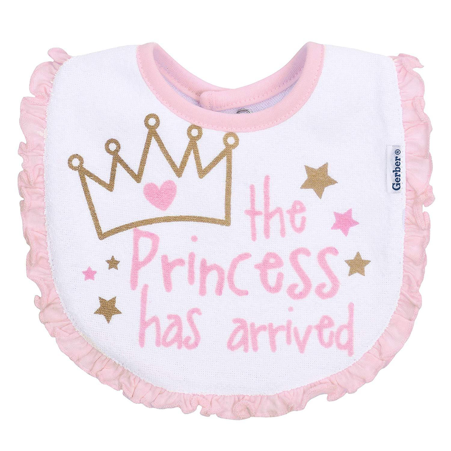 3-Pack Girls Princess Crown Dribbler Bibs