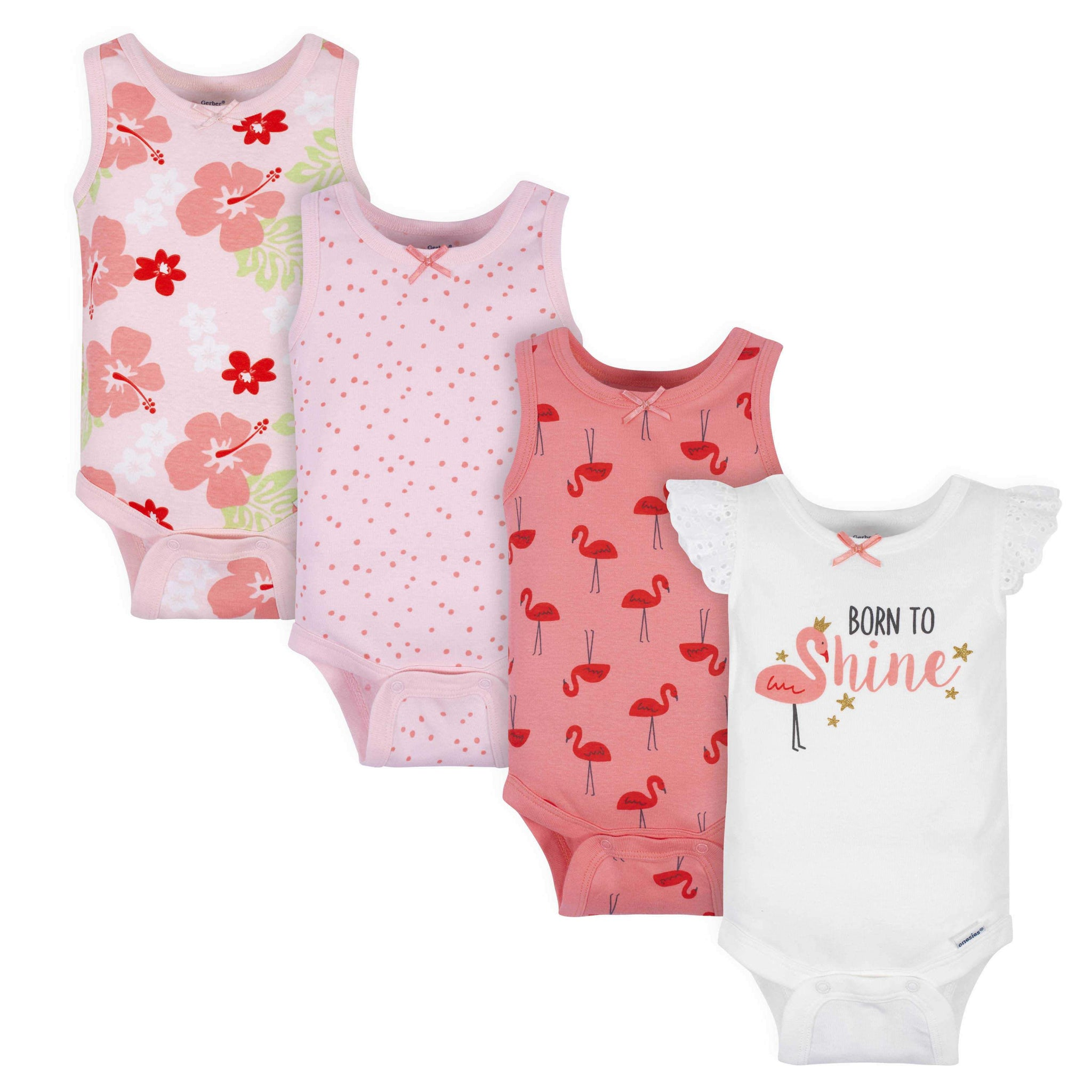 4-Pack Baby Girls Flamingos Tank Onesies Bodysuits