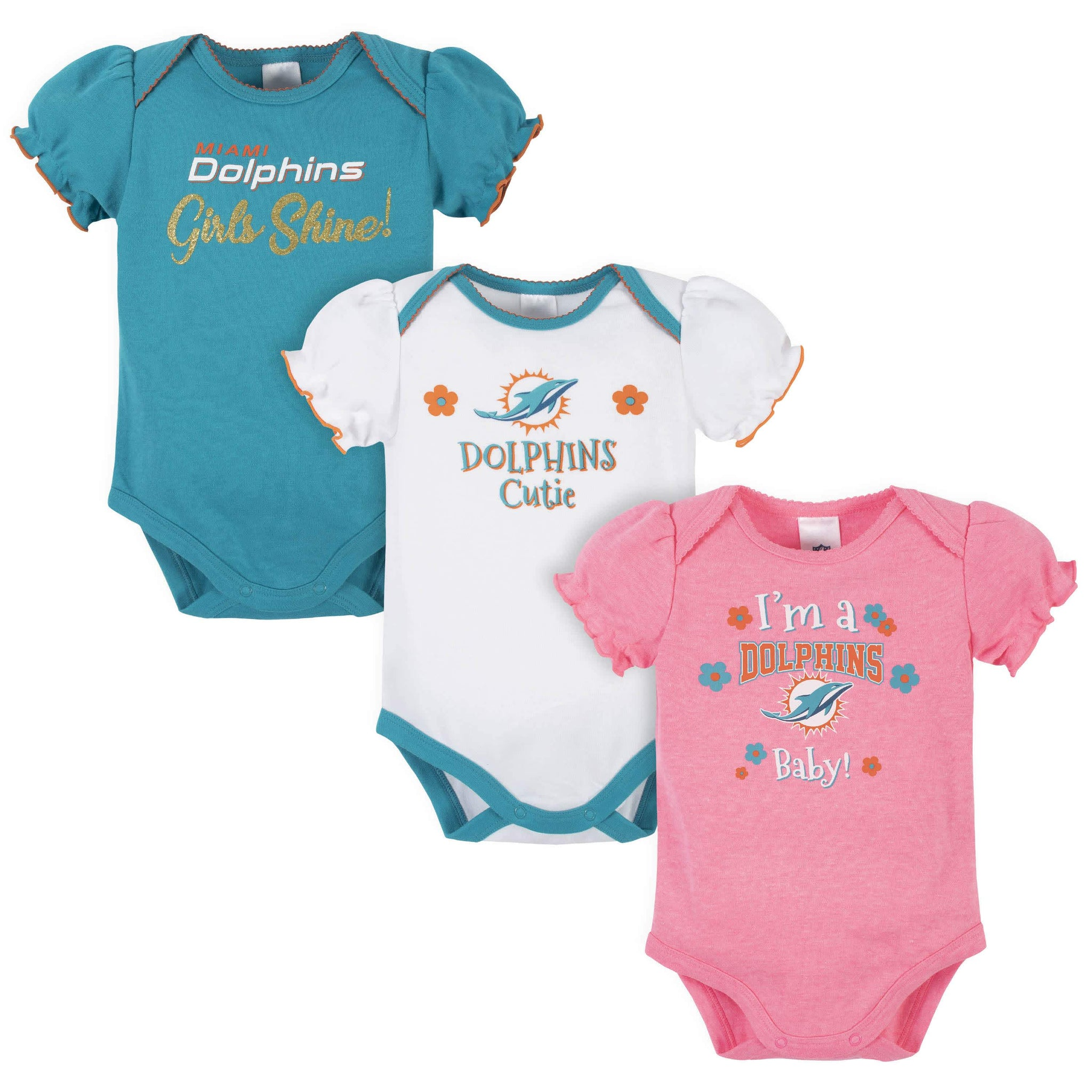 Miami Dolphins Baby Girls Short Sleeve Bodysuits
