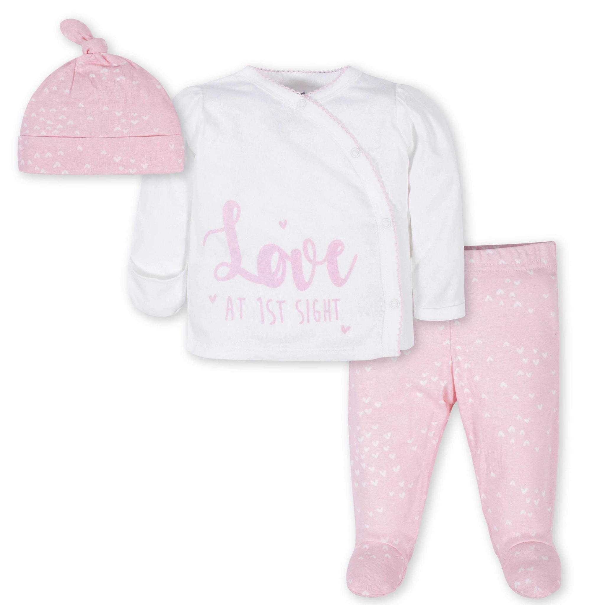 3-Piece Baby Girls Love Take-Me-Home Set