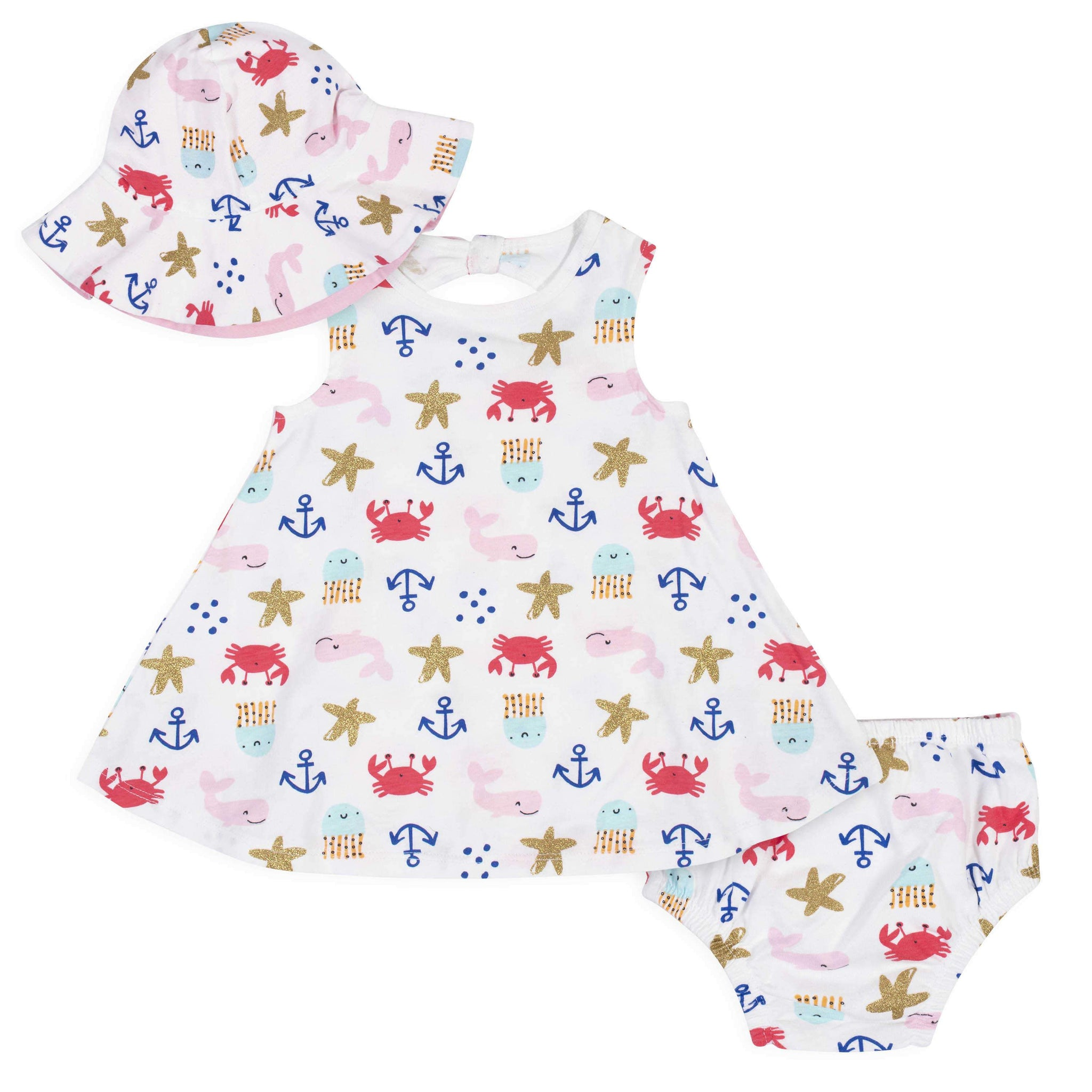 3-Piece Baby Girls' Sea creatures Dress, Diaper Cover, and Hat Set