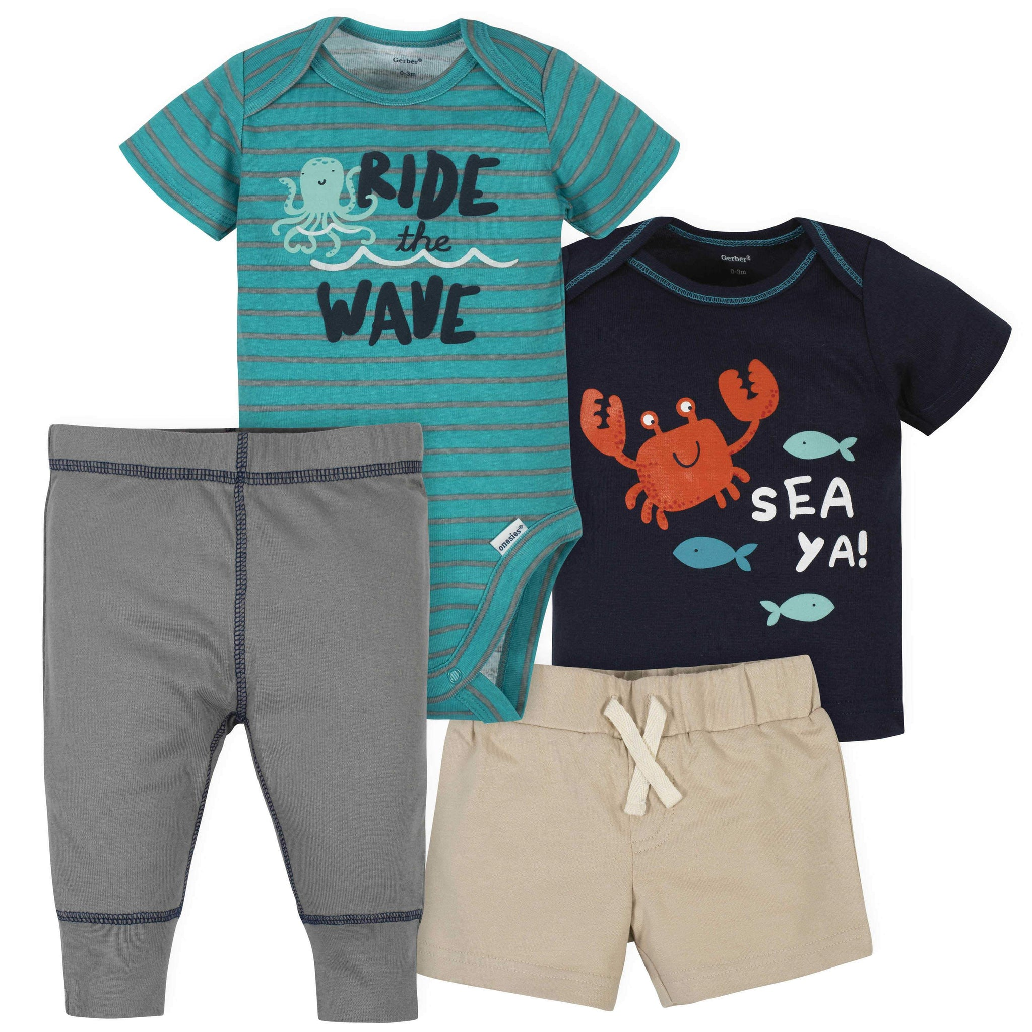 Gerber® 4-Piece Baby Boys Under the Sea Onesies Bodysuit, Short, Shirt, and Active Pant Set