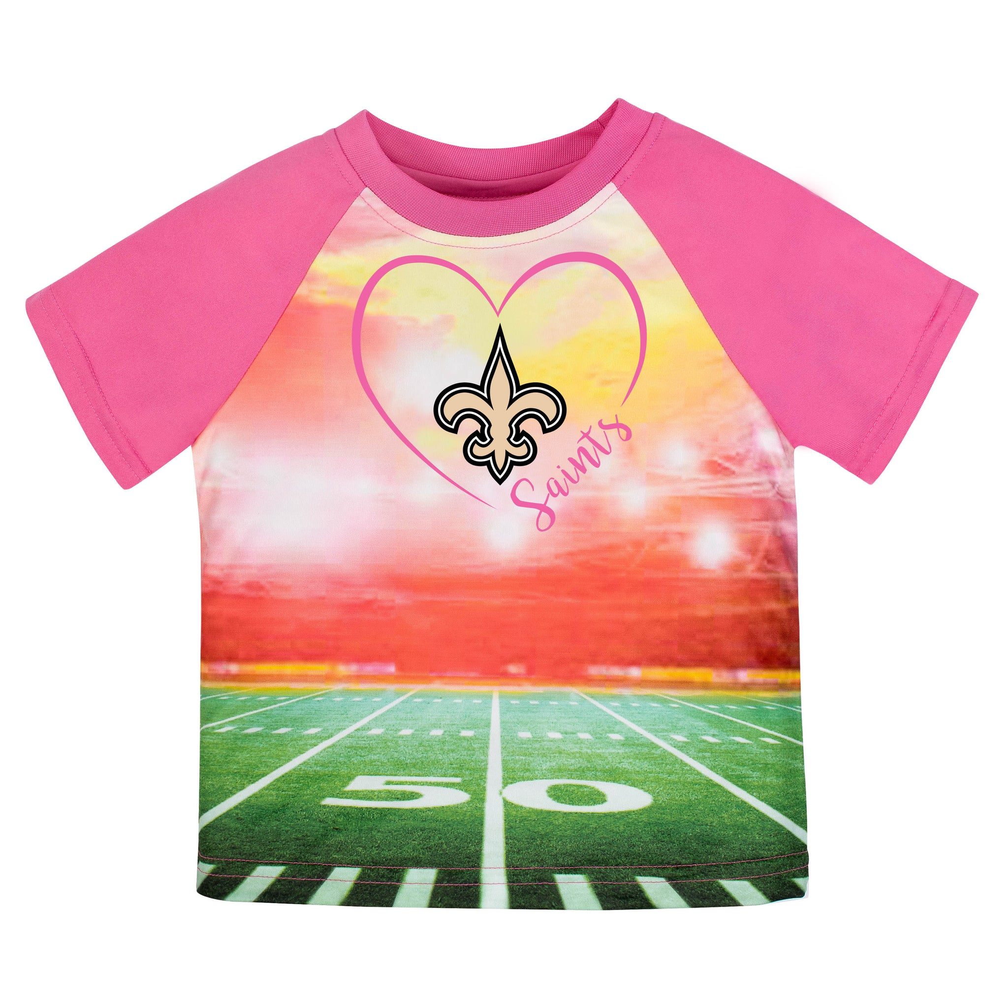 New Orleans Saints Girls Short Sleeve Tee Shirt-Gerber Childrenswear
