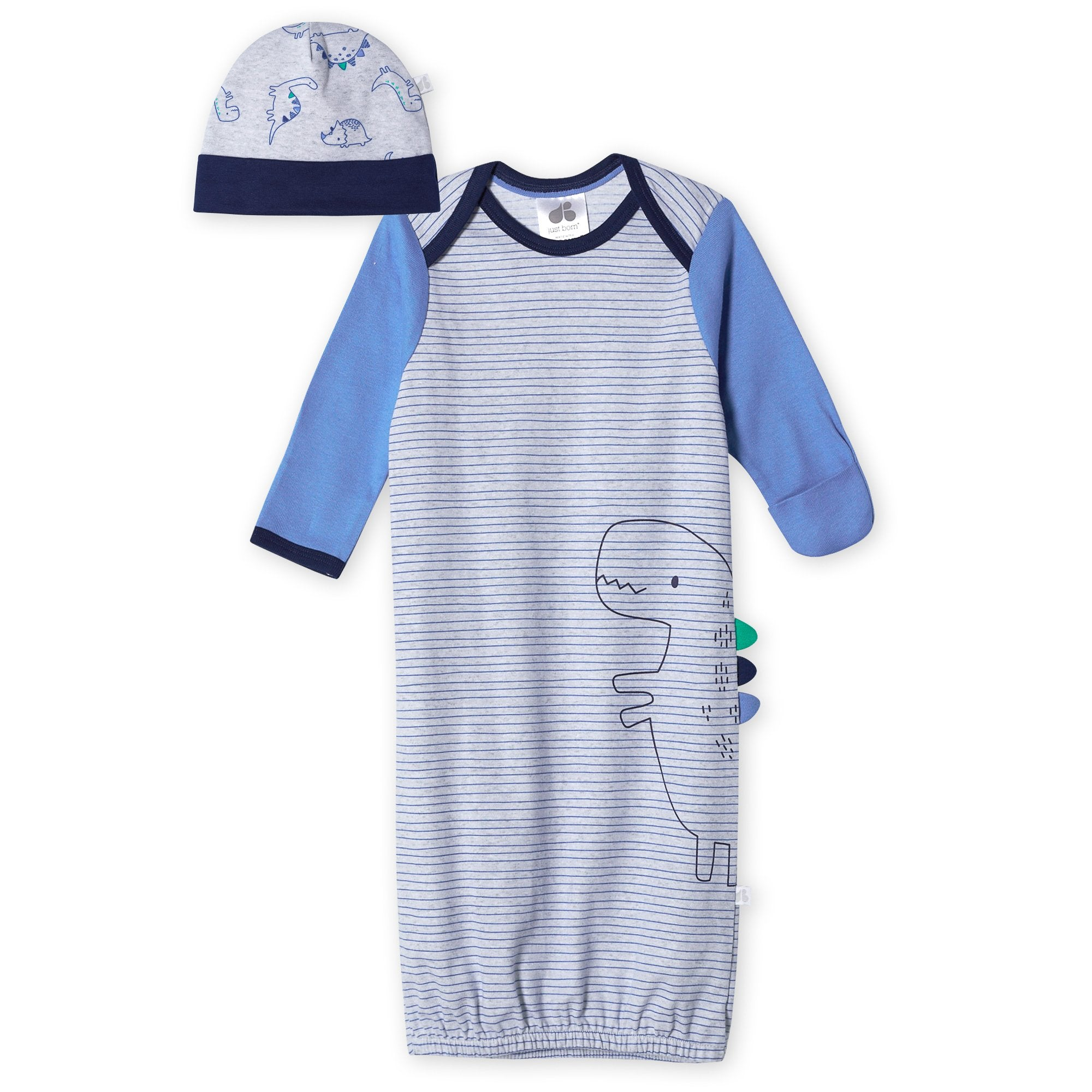 Just Born® Organic Baby Boys 2-Piece Lil' Dino Gown and Hat Set-Gerber Childrenswear