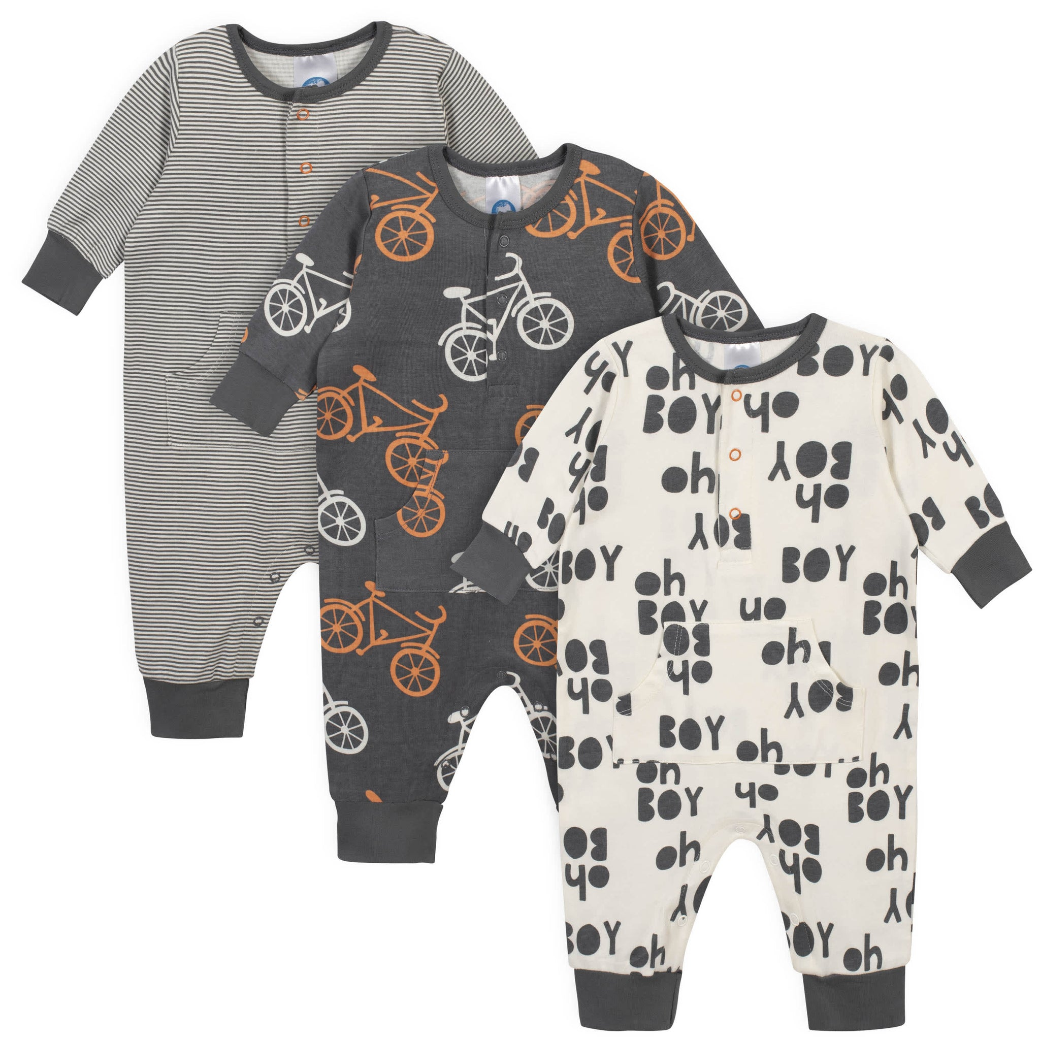 3-Piece Baby Boys Grow by Gerber® Bicycle Organic Coverall Set