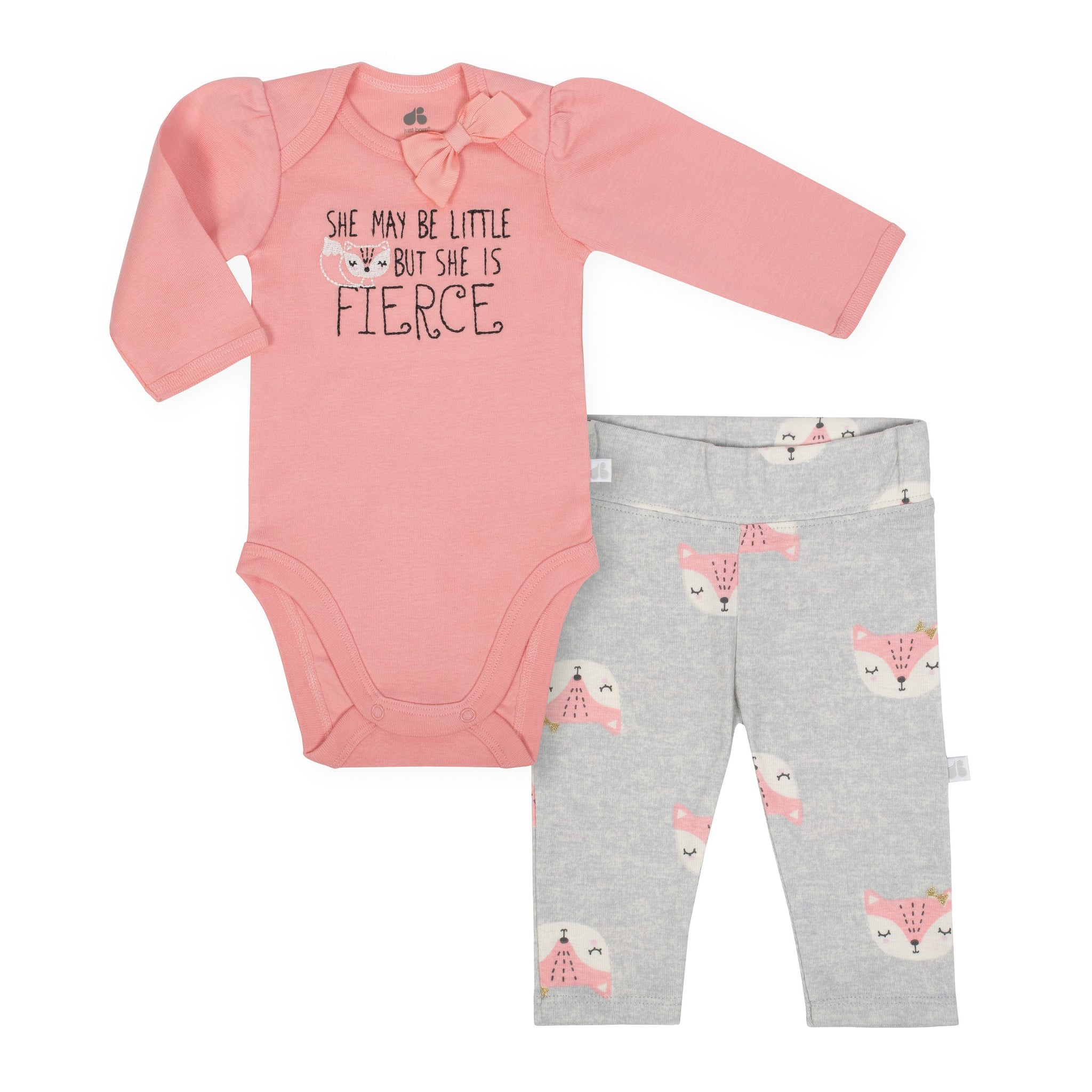 Baby Girl Just Born® Organic Fox Bodysuit and Pants Set