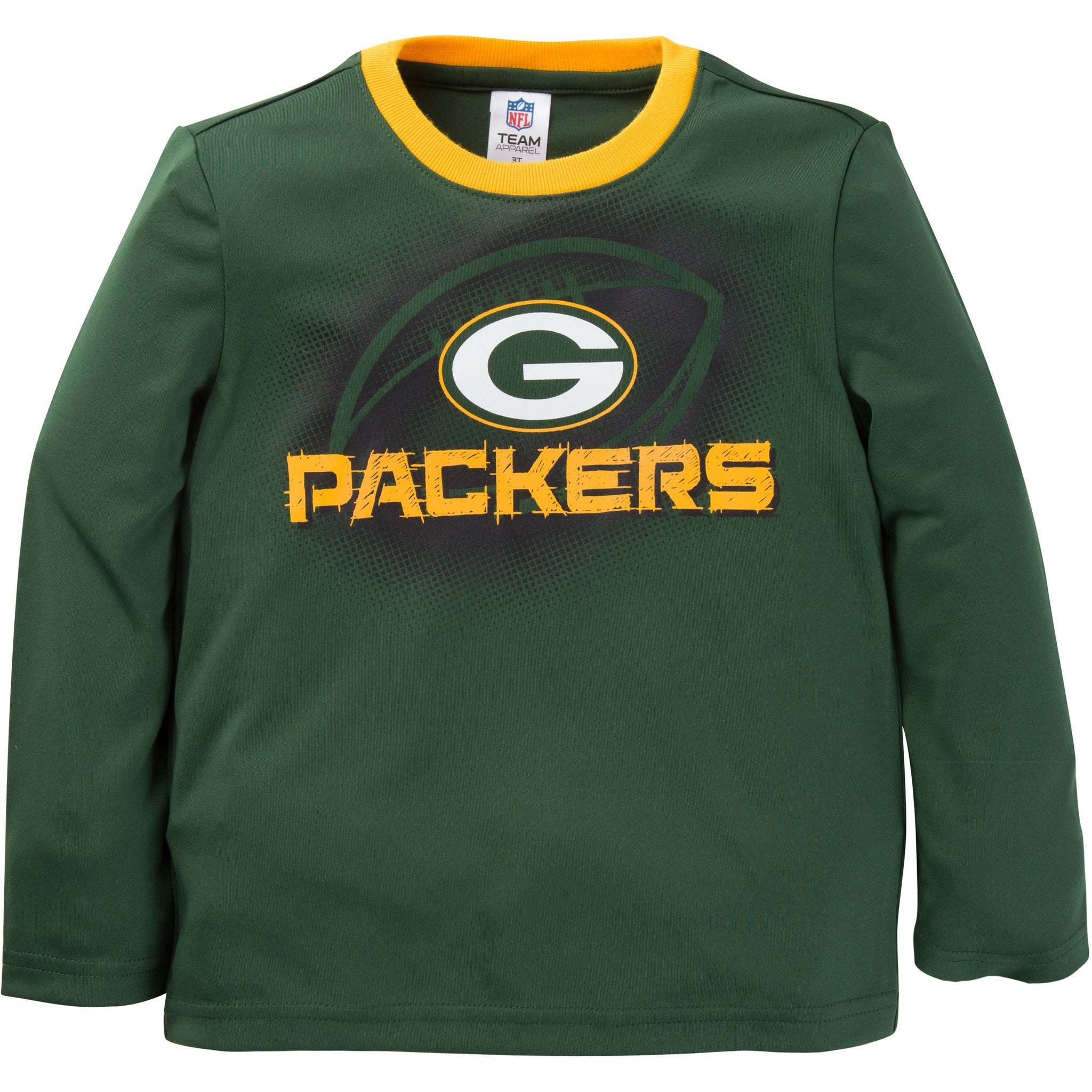 NFL Green Bay Packers Toddler Boys Long Sleeve Performance Tee Shirt-Gerber Childrenswear